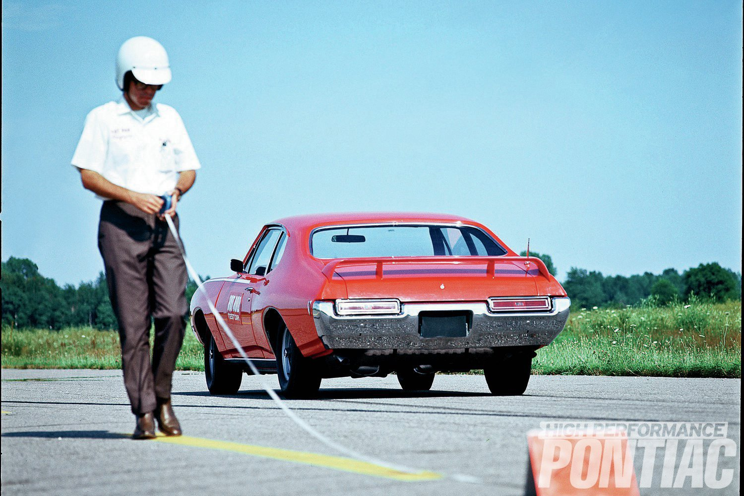 Hot Rod magazine editors measure braking distance for its story. Notice that this Judge prototype clearly uses standard Tempest taillights, but also has a side vent (wing) window, suggesting that it's actually a '68 model-year vehicle in sedan styling.