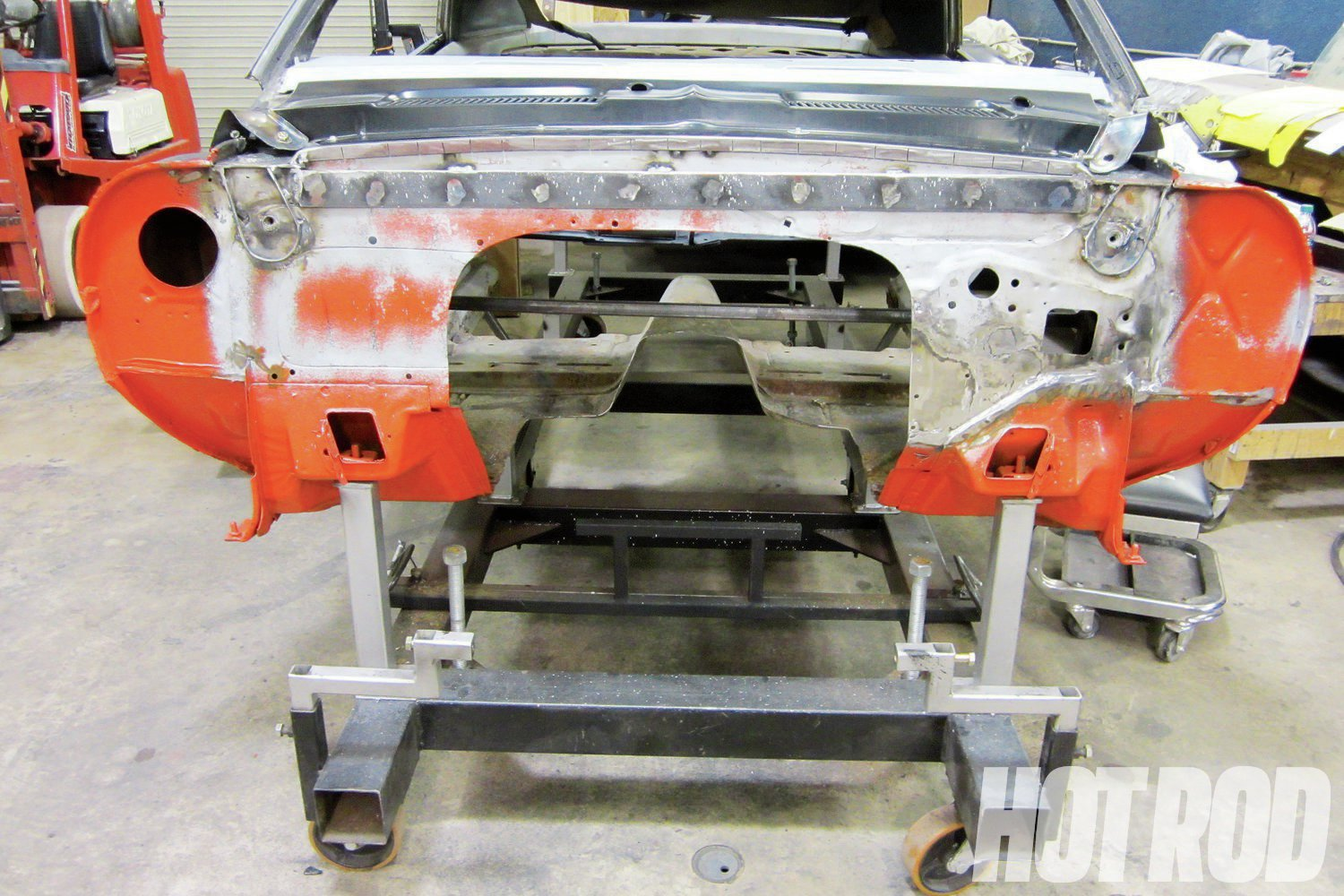 With the chassis dimensions recorded and sent to Art Morrison, attention turned to the thrashed shell of the Camaro. Rust was repaired where it was necessary, and Auto Metal Direct was used for replacement sheetmetal.