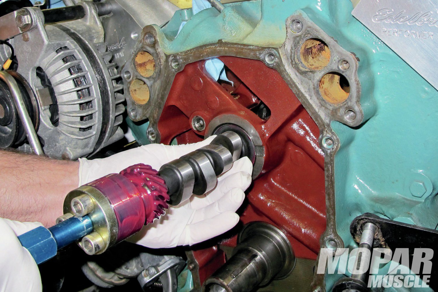 02 The new stick was lightly coated with Comp's cam and installation lube (part number 153).We were extra careful not to nick the cam bearings while removing the old and installing the new bumpstick. Seen is the Camshaft Installation Handle (PN 5311) we've been using for over 15 years in all of our cam swaps and installations. This tool helps save time, pinched fingers and nicked cam bearings.