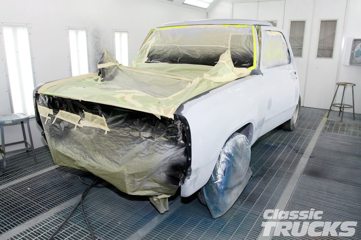 2. Still in original paint RCC autobody students sanded most of the dark blue to bare metal. After cleansing with prep solvent, Summit Racing DTM epoxy SUM-UP230 went on. DTM means direct-to-metal. Wait around 24-48 hours before sanding.