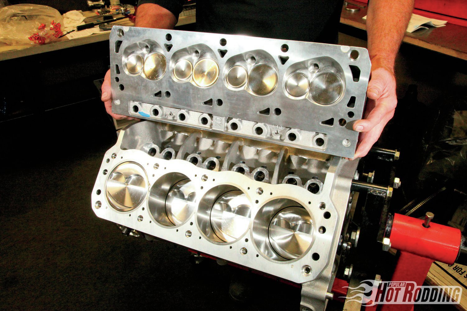 The small dome, big displacement, and compact combustion chambers of the Trick Flow cylinder heads add up to a compression ratio of 11:1. (We'll have a lot more on these killer flowing heads in our next installment.) That compression will ensure that the engine will live happily with pump gas, while the big cubes, ample airflow, and the generous cam timing are in place for serious output.