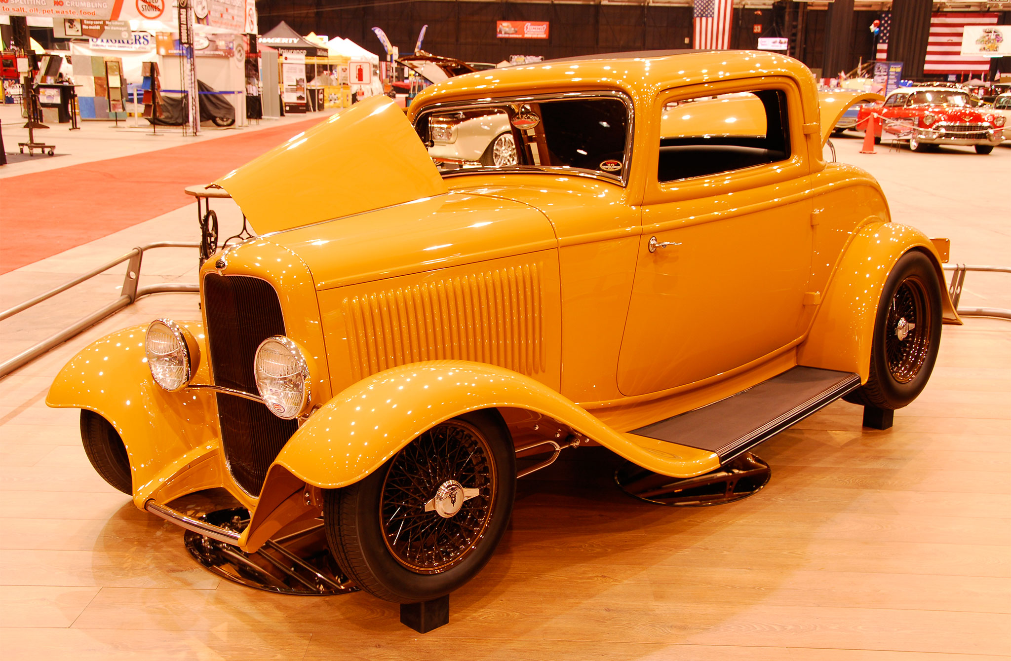 Built by Dave Lane for Phil and Deb Becker, their 1932 Ford was as nice as they come, featuring an original body with a 3/4-inch chop, detailed 350ci Chevy small-block, Winters quick-change rear, and custom blended DuPont Butterscotch gloss.