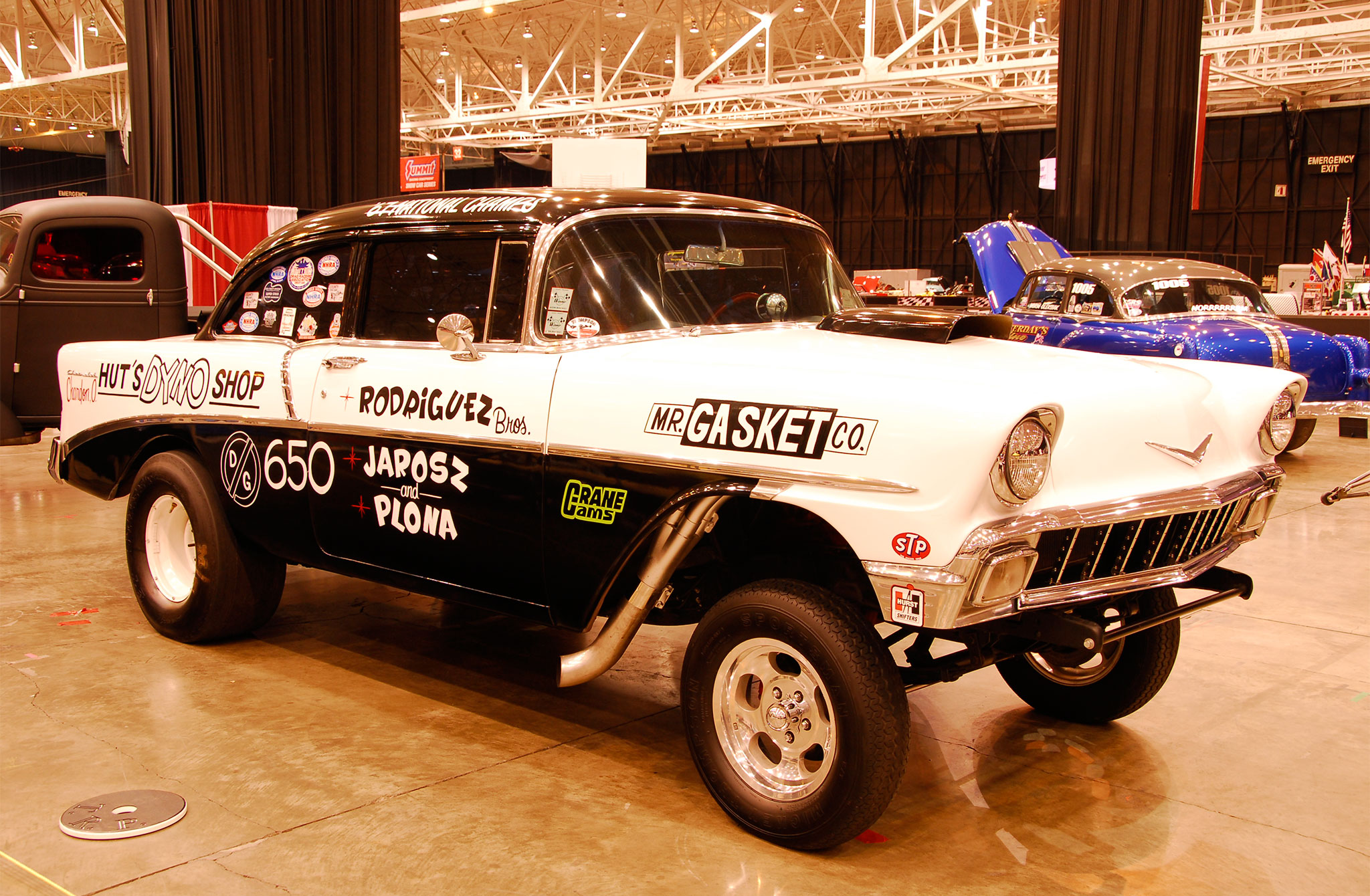 Looking like it was ready to run the quarter-mile, Bill DeBartolo's 1956 Chevy was ready for action with a nosebleed stance, fenderwell headers, and plenty of attitude.