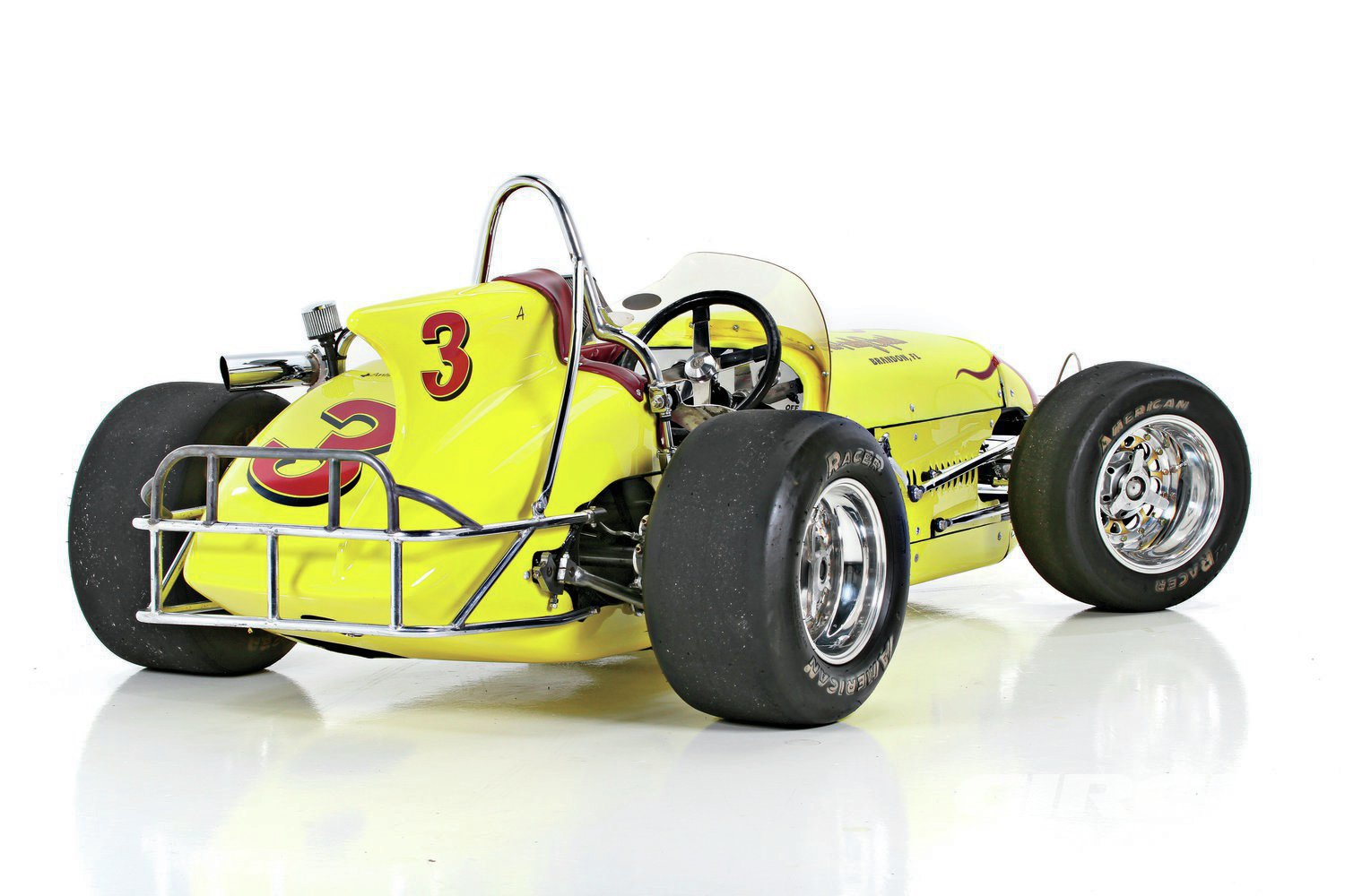 The rear fin section of the car is hand formed out of aluminum. The panel was constructed in six pieces. Though not original, the car rides on Weld Racing wheels and American Racer tires. In it day, the car was run on dirt, but now it sees duty on asphalt tracks in central Florida.
