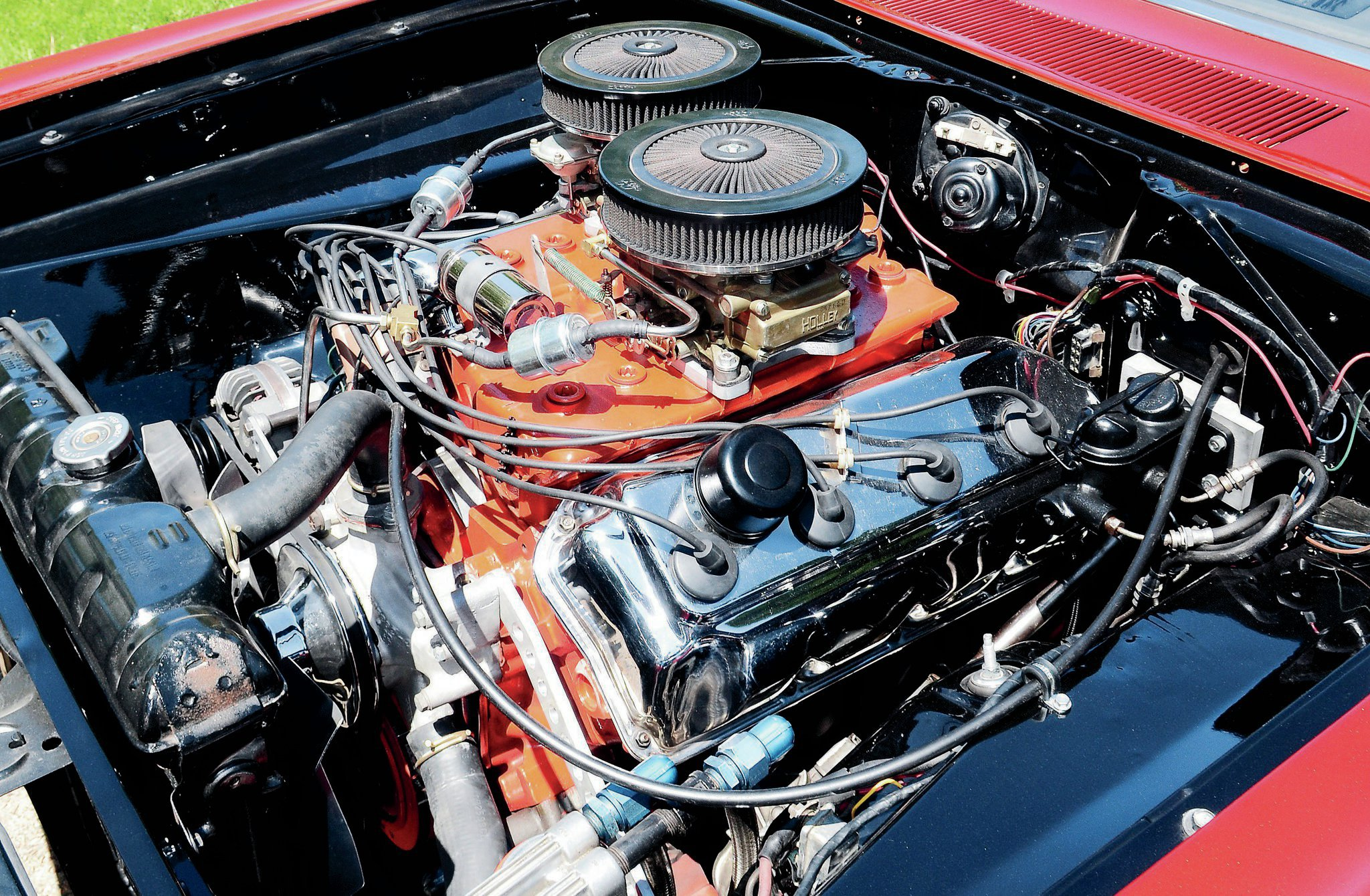 The Hemi in Dave's Dart is a mix of fresh and vintage components; the heads, intake, and ignition are from 1968.