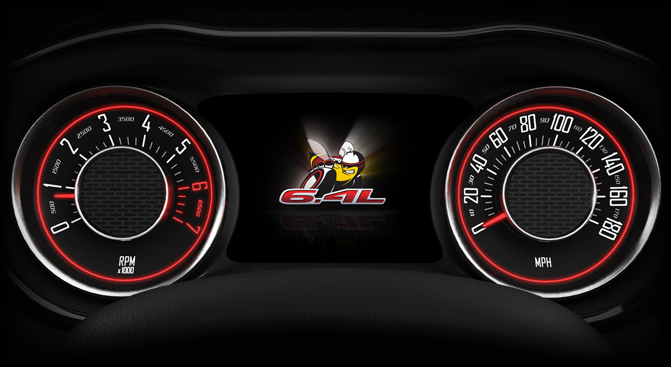 When you fire up your Scat-Pack-equipped HEMI (5.7- or 6.4-liter), the animated apparition of the Scat Pack Bee lights up the 7-inch TFT screen on the instrument panel.