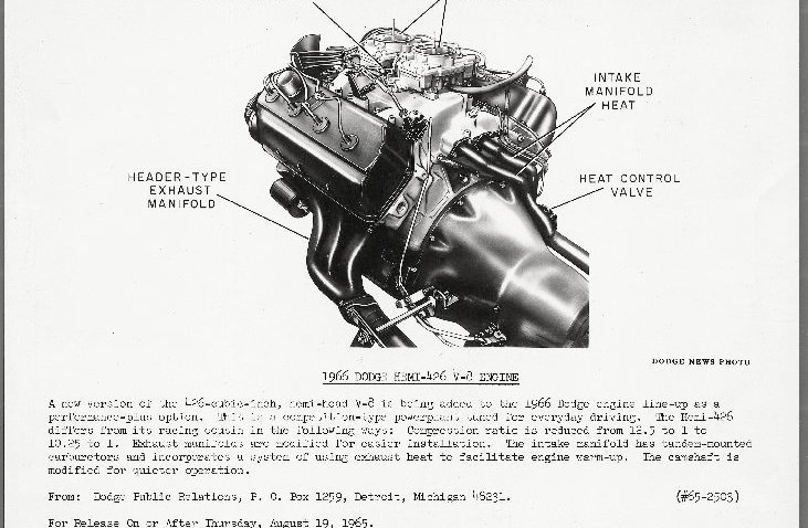 "Dated August 19, 1965, this press photo from Chrysler described the new Street Hemi as a ""competition-type powerplant tuned for everyday driving."""