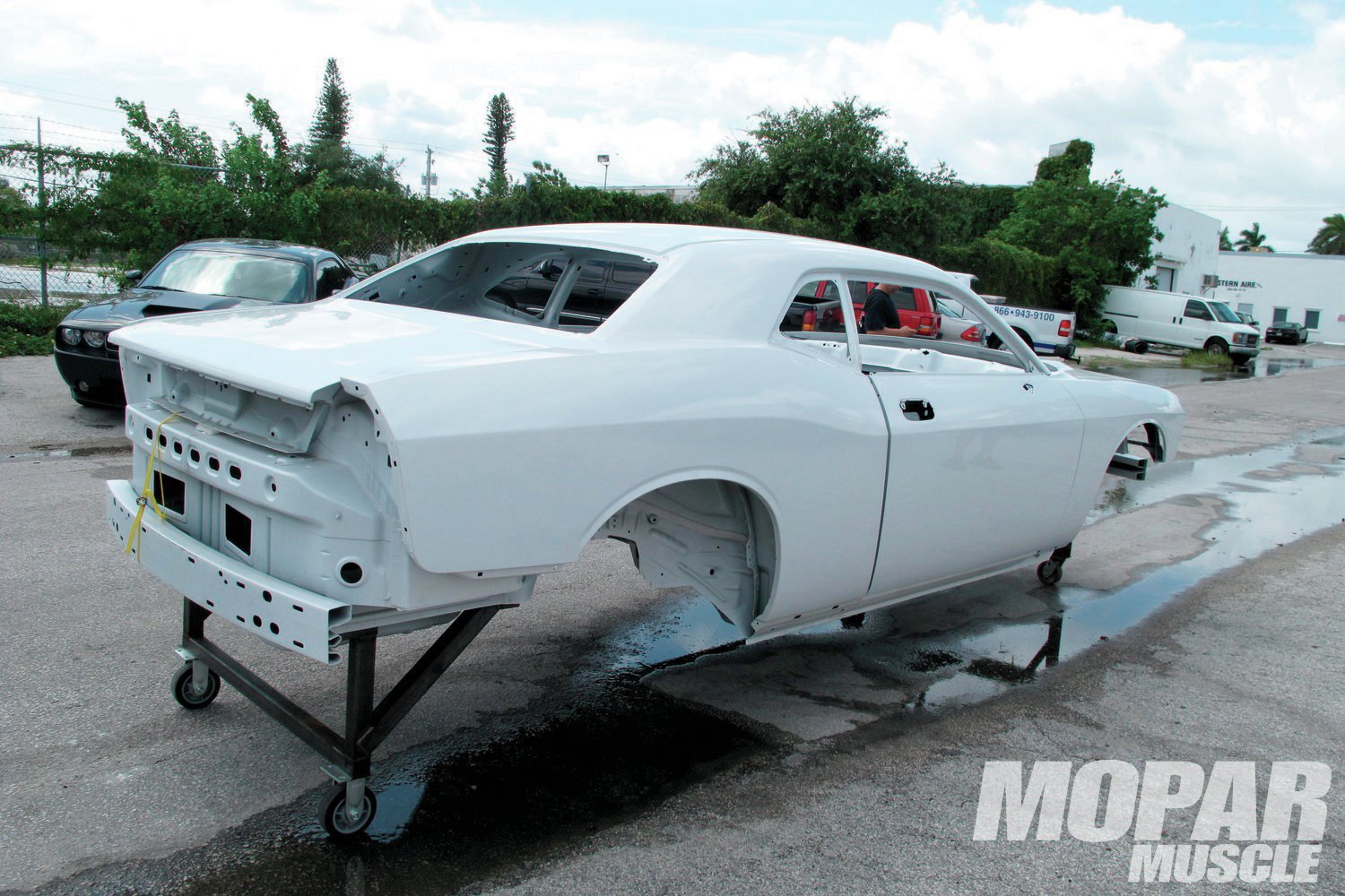 1. The body-in-white Challengers are production cars that were plucked from the assembly line prior to being fully assembled. Therefore they don't have any suspension, wiring, plumbing, interior, or glass, nor do they have an engine or transmission. In our eyes, this is a perfect starting point for an open track road race car.