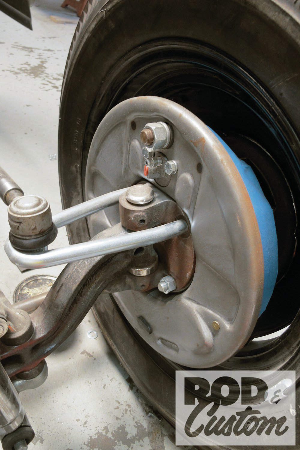 4. At the time I was about to perform the spindle modification on the '33, Circle City Hot Rods had recently completed a similar conversion on a customer's '31 roadster, shown here with original Lincoln backing plates (notice more detail depth than Speedway's) and stock '37-41 Ford spindles.