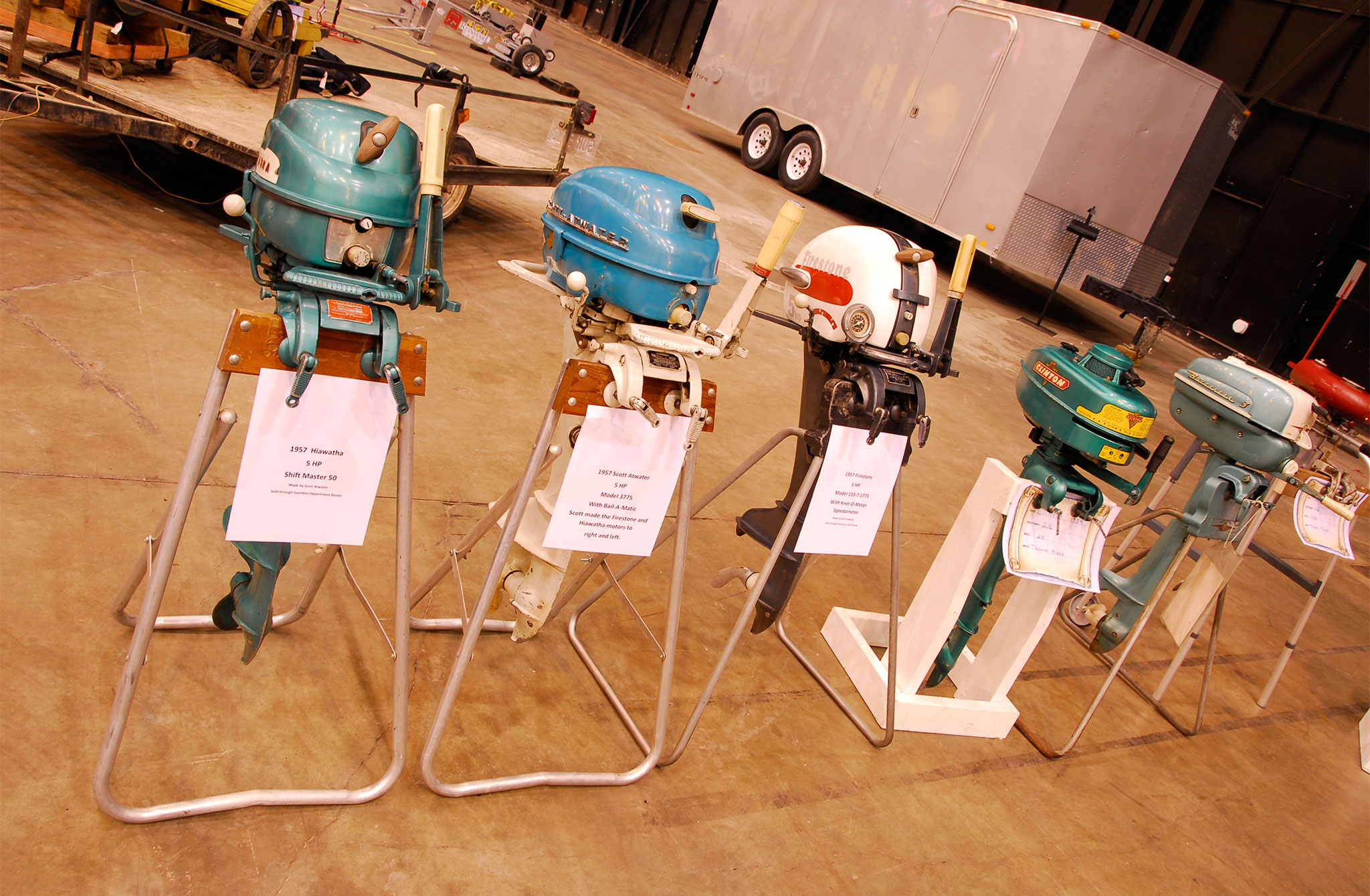How about a selection of classic outboard motors on display to rekindle your youth, including ones manufactured by Scott Atwater, Firestone, and Clinton.