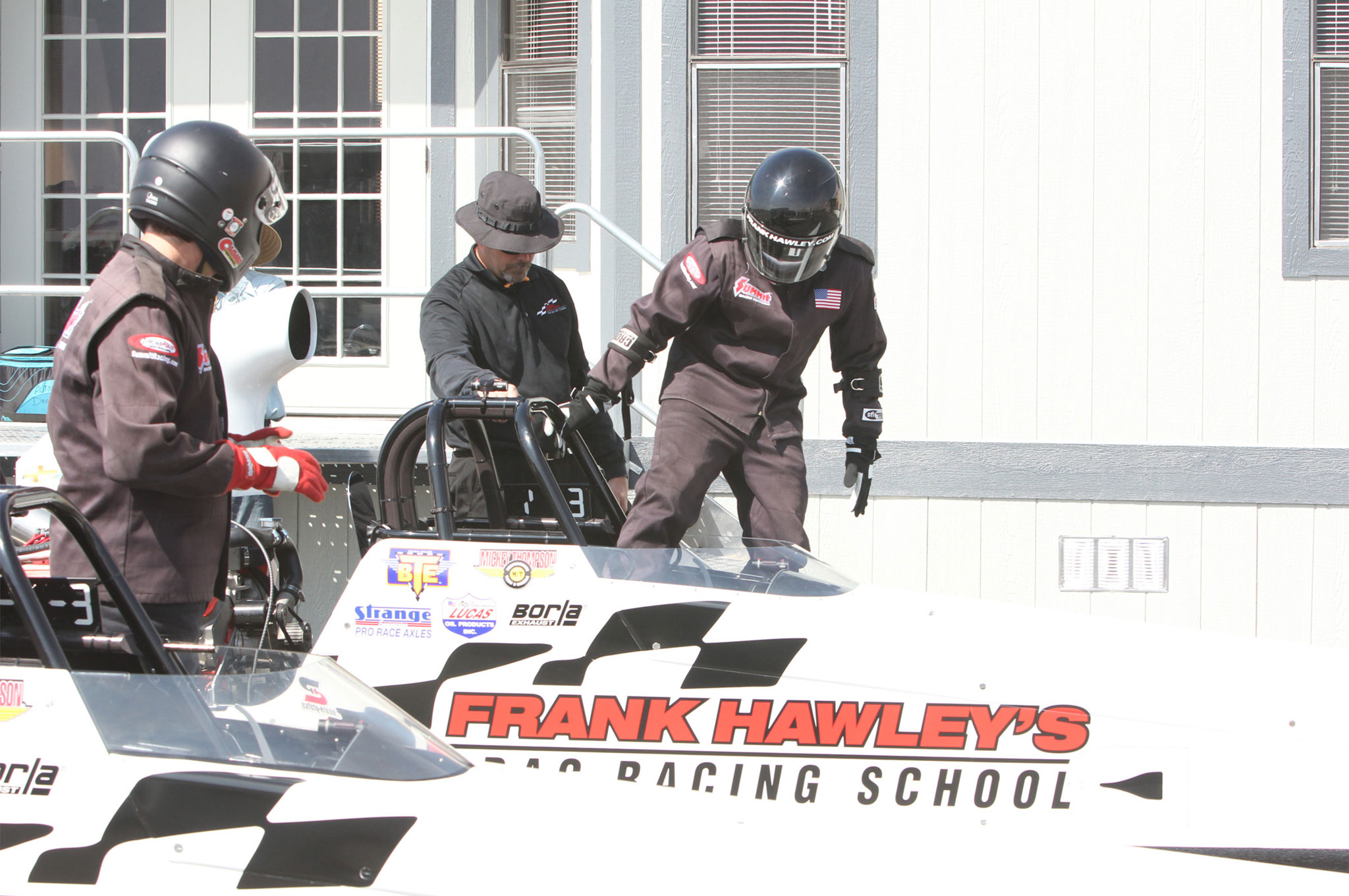 After you are shown how to enter a dragster, the instructor will belt you in and go over the starting and driving instruction one more time in case your brain exploded.