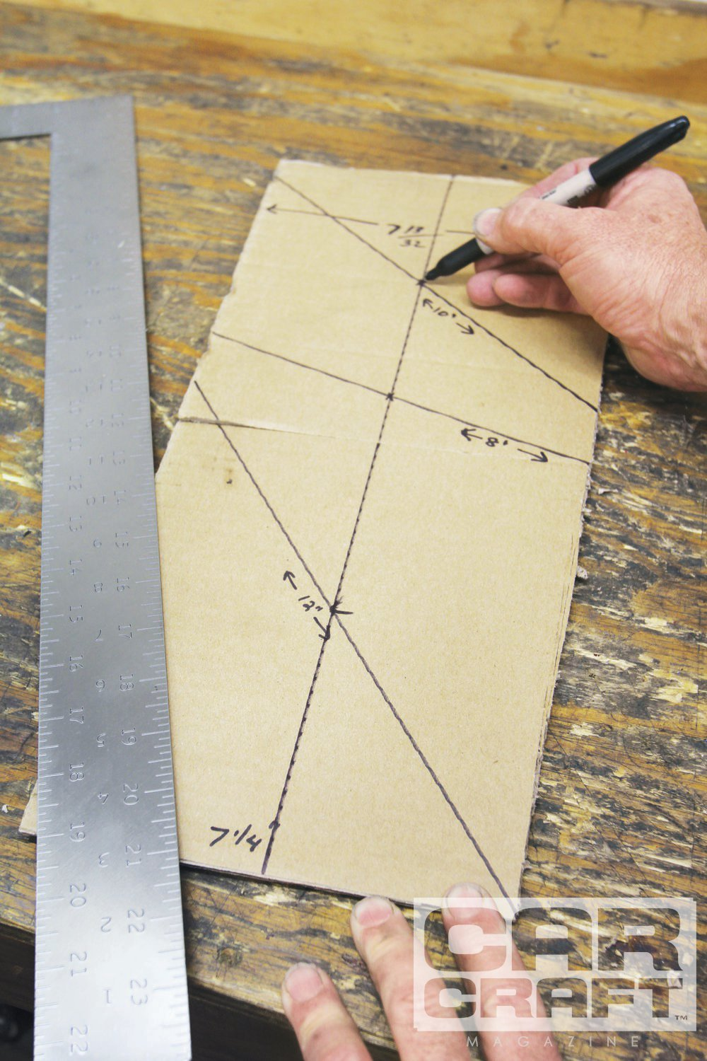 Want to find the exact center of a work piece that may not be square? Straight across may be an odd number like 47⁄32 inch that is cumbersome to determine the exact mid-point. A machinist showed us a much simpler technique. Lay the straight edge at an angle with the length set to a round number, like 8 inches. Halfway is 4 inches—mark that point. Move to the other end of the work piece and establish an angle with say 10 inches across and mark the center at 5 inches. Those two marks now position the exact center of the piece. Simple, yes?