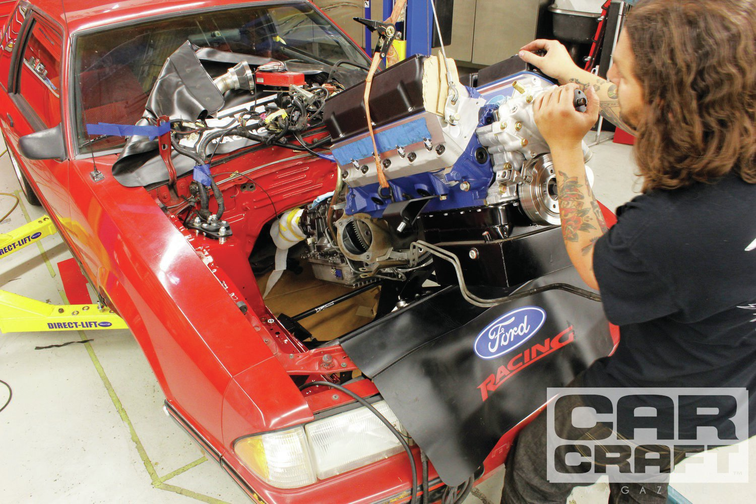 If you have been following along, you know that we took a stock 4-cylinder Mustang with an existing 302 swap and added a Hellion Street Heat turbo kit. The car ran 11.70 at 115-ish with 1.59 60-foot times and a little wheelie. Then we got bored and pulled the engine.