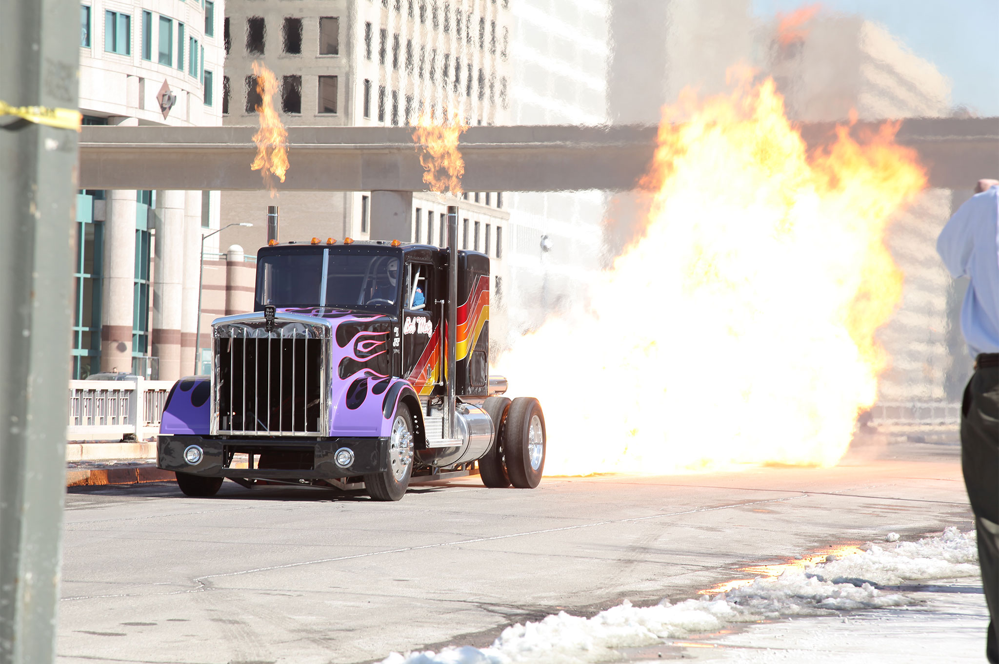 The event started with a bang when Bob Motz's jet-powered semitruck performed a demonstration of its power to a group of onlookers gathered on the street in front of Cobo Hall. Besides wowing the crowd, the explosive performance alerted officials at the nearby boarder crossing into Canada, and the office of Homeland Security had to make some calls to make sure no terrorists had targeted downtown Detroit.