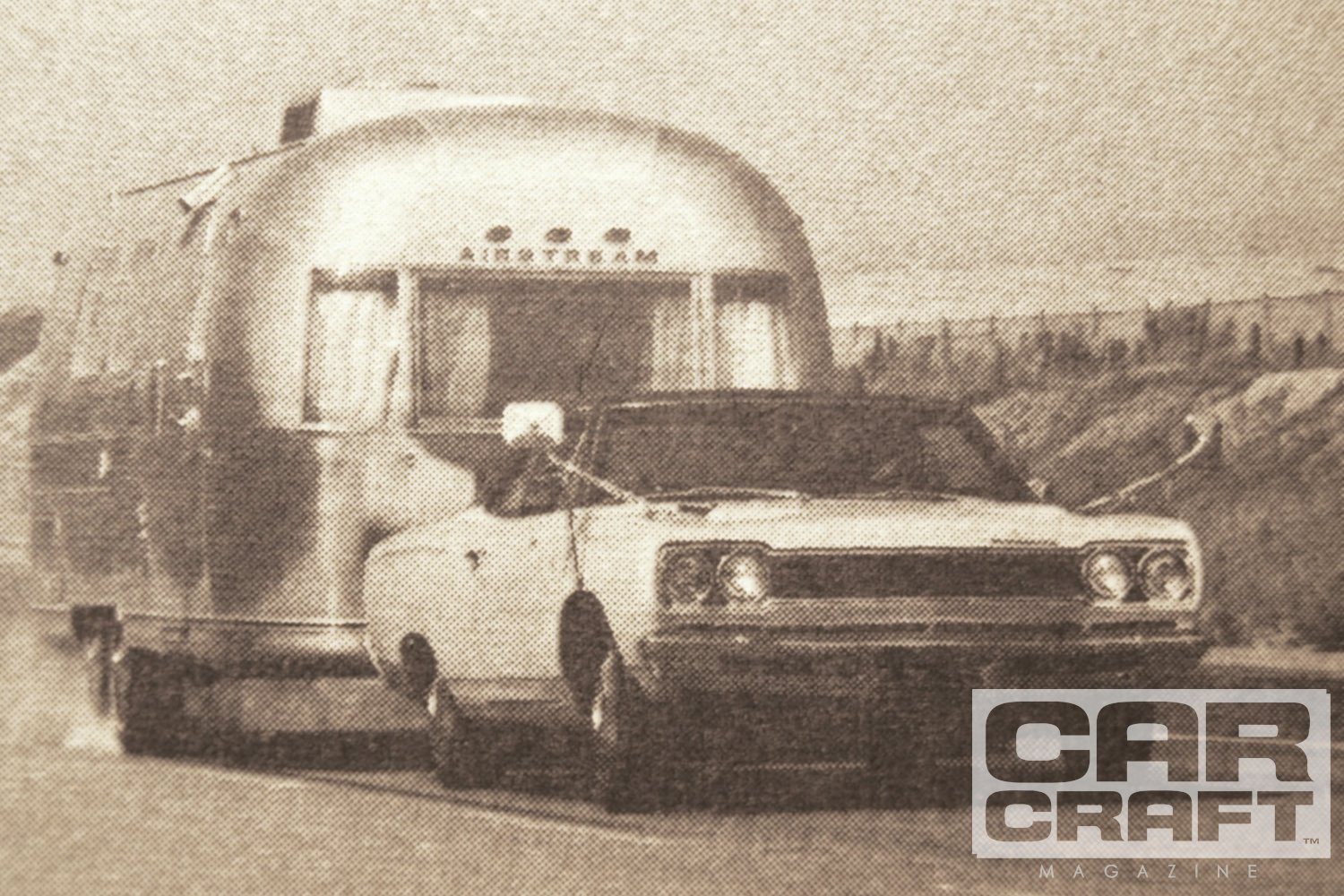 "The strangest Road Runner magazine road test of all appeared in the Nov. '68 edition of the now defunct Motorcade magazine. In a story titled ""The Airstream Grand Prix,"" author Wayne Thoms tested the limits of travel trailer towing by hooking a 31-foot Airstream Sovereign International to this '68 Hemi Road Runner (equipped with 727 Torqueflite and optional power front disc brakes). Similar trailers were coupled to a Pontiac Ventura (powered by a 340hp 400 4-bbl), Chevy Caprice (with the 385hp 427 4-bbl), and Buick LeSabre (with 280hp 350 4-bbl), then a series of tests were conducted at Riverside Raceway. The Hemi won the 0–60 acceleration test in 14.9 seconds but lagged in the 65–0 panic stop at 193 feet (shown here, note the locked trailer tires). Oddly, the Buick and Pontiac stopped in 160 feet, sharing the win. With its 4,650-pound load, testers noted the Road Runner was prone to pre-ignition under full throttle. Where is this car today?"