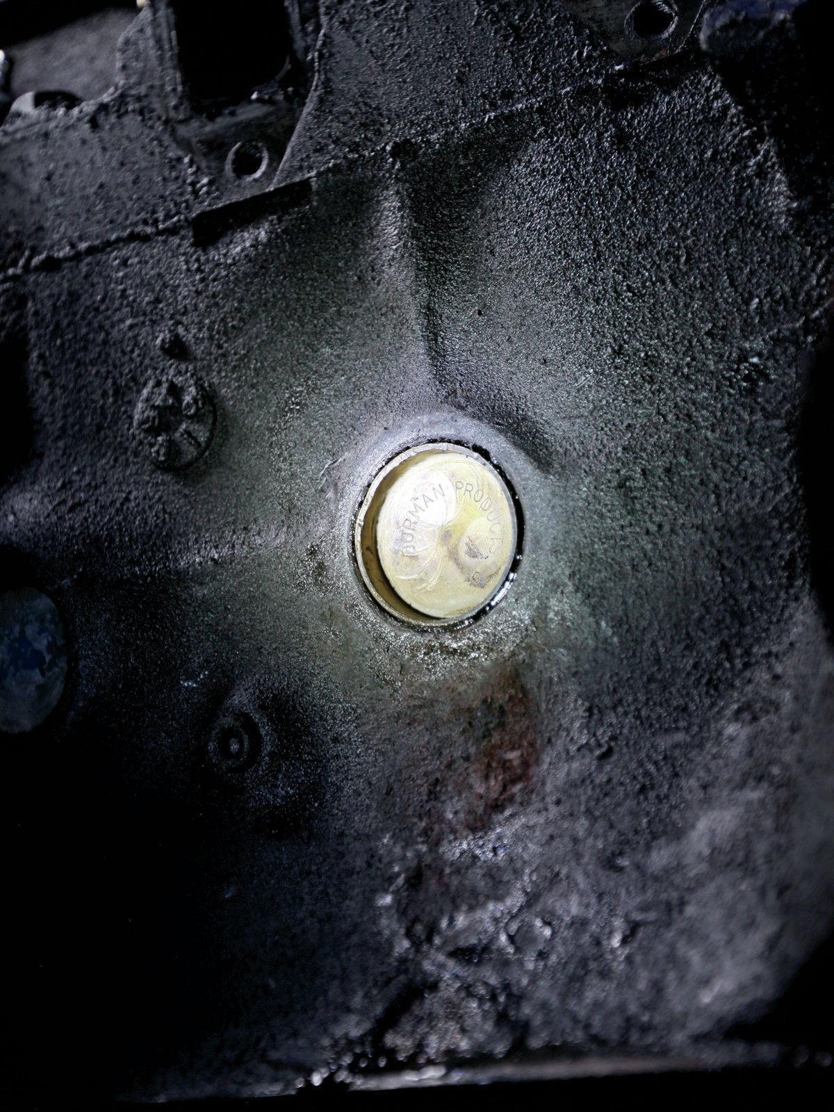 13. For a good seal use Permatex Form-a-Gasket on the opening. I like to replace steel freeze plugs with brass.