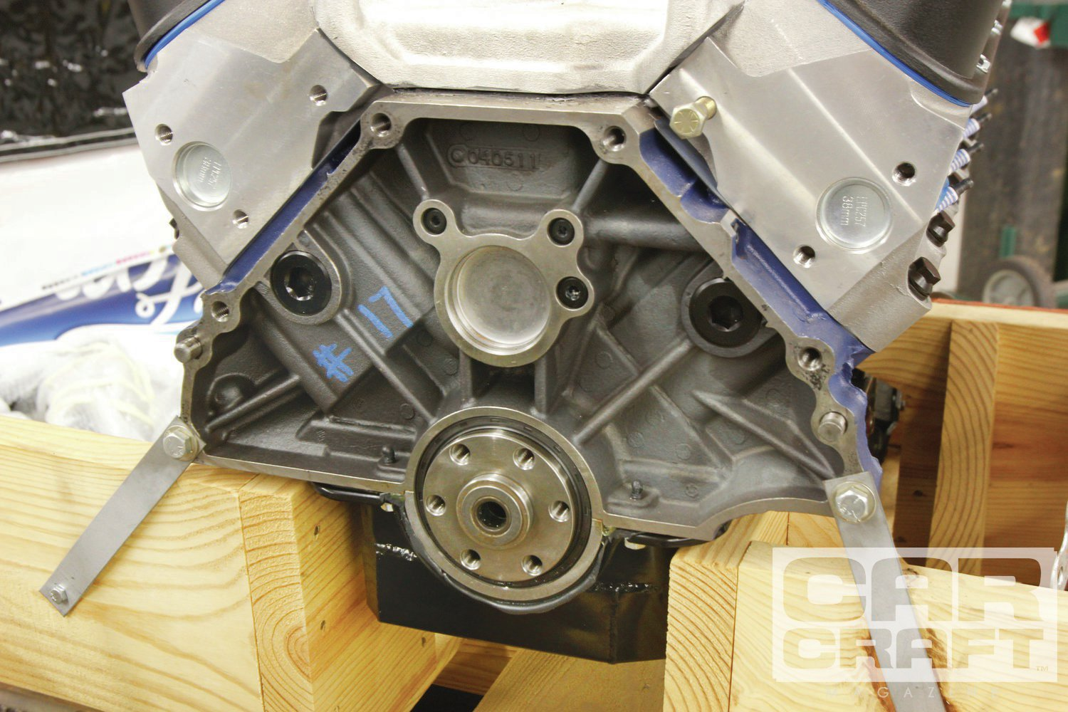 """We did a big story about the Z363 last year (""""Ron Burgundy IV,"""" Feb. '13) and ended up making 507 hp and 452 lb-ft with an Edelbrock Super Victor manifold and a Wilson spacer. This photo is to remind you to seal the flywheel bolts and remove the pilot bearing in automatic applications."""