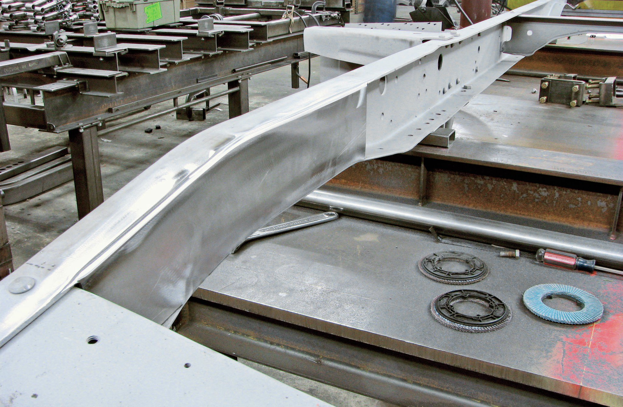 9. Once the welds are ground smooth, the boxed 'rails look like tubing.
