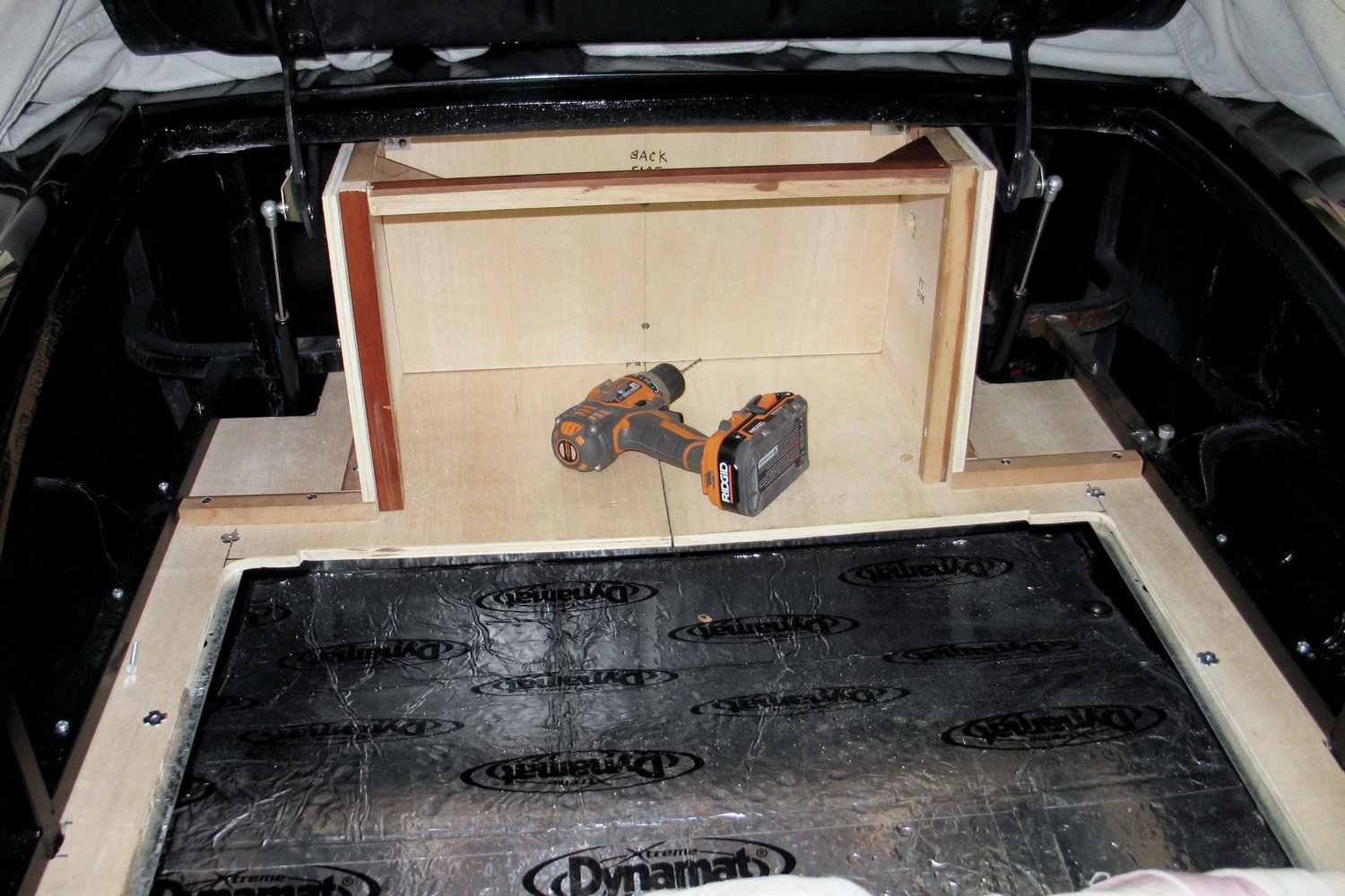 With the outer false floor in place we began construction of the storage box. Note the false floor is also the bottom of the storage box.