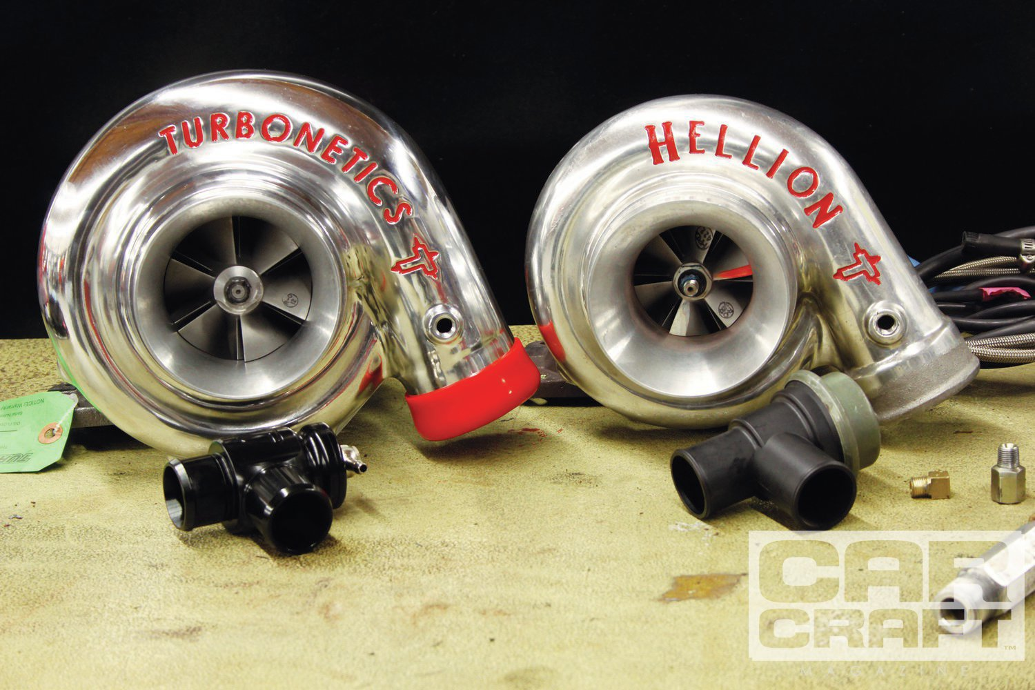 Larger engines require more air, simple as that. The upgrade for the original 61mm turbo is this 76mm wheel from Turbonetics. It has a ball bearing, 0.96 A/R ratio, and a T4 flange. We upgraded the blow-off valve (BOV) with a compact version from Turbosmart. In the past, we've had problems with small BOVs failing to vent boost on decel and blowing off the intake piping.