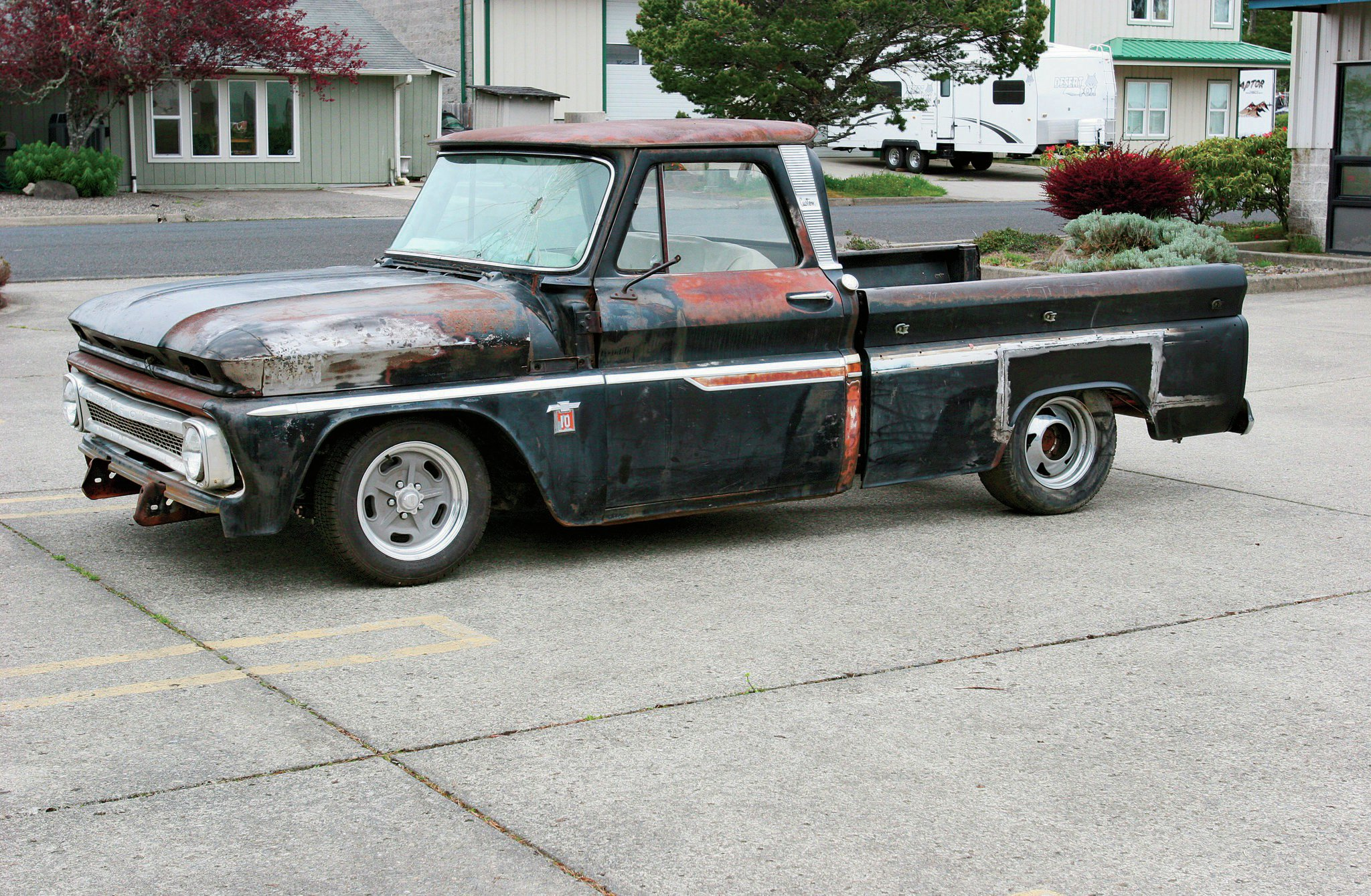 1. At this point most of what's been done to our '64 Chevy pickup is hidden. The chassis has been updated with a Scott's IFS and rear four-bar kit. Now it's time to work on the cab.