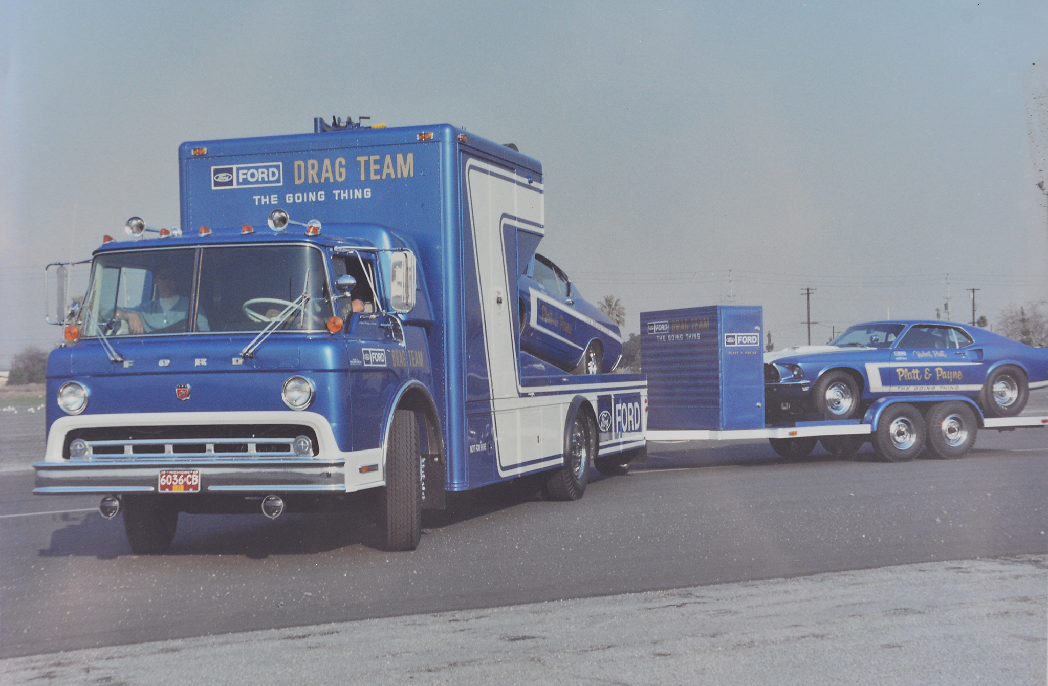 Hubert Platt and Randy Payne drove the Ford Drag Team cars for the Eastern Team. During the week, the teams headquartered at Ford dealerships, where they held seminars and helped set up Ford drag clubs. On the weekends, they traveled to dragstrips to race. They used a special Ford car hauler with a cab-over design made from a Ford C800.