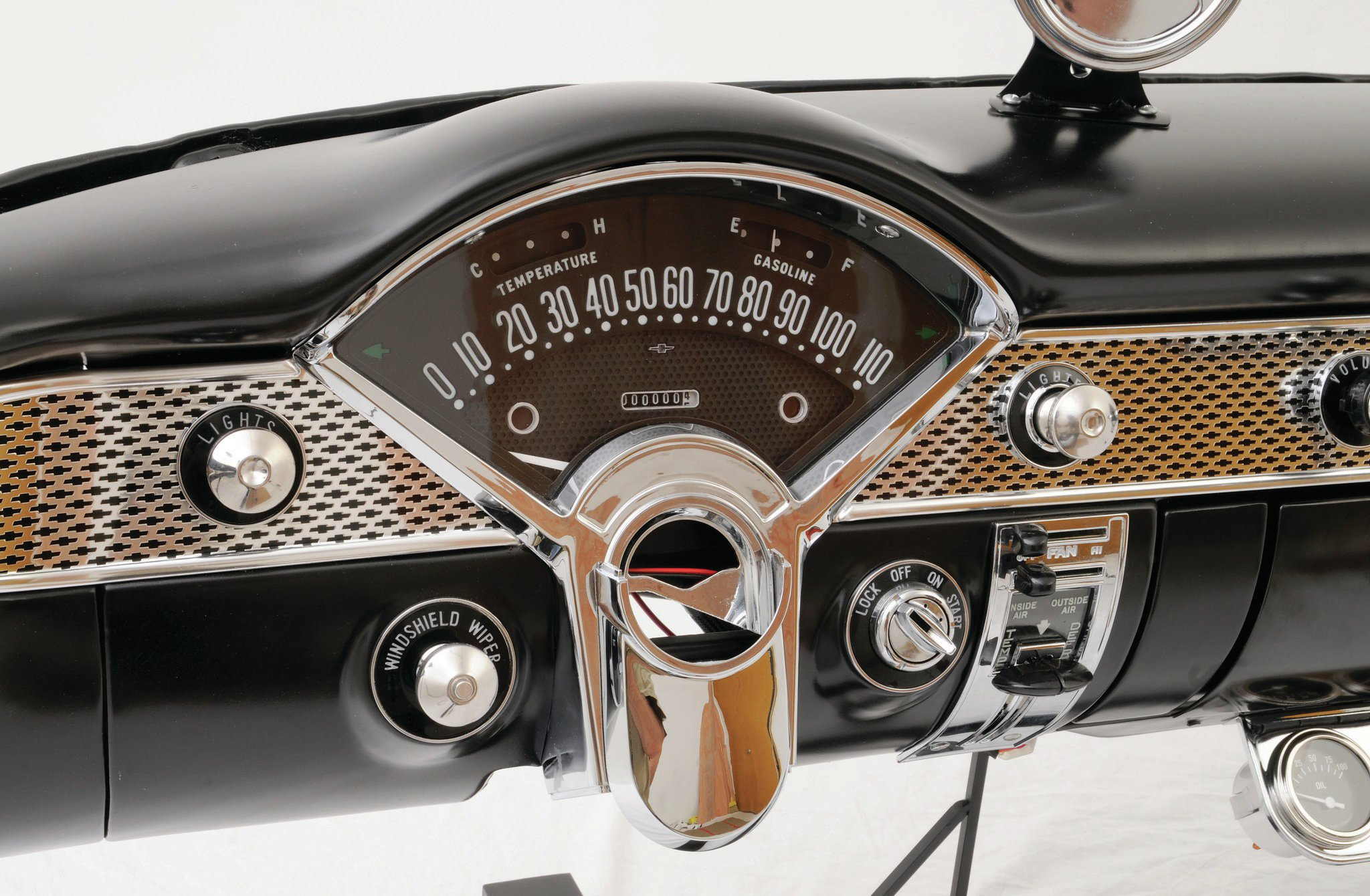 Classic Instruments' '55 Chevrolet retrofit sweep speedometer. These numbers are accurate!