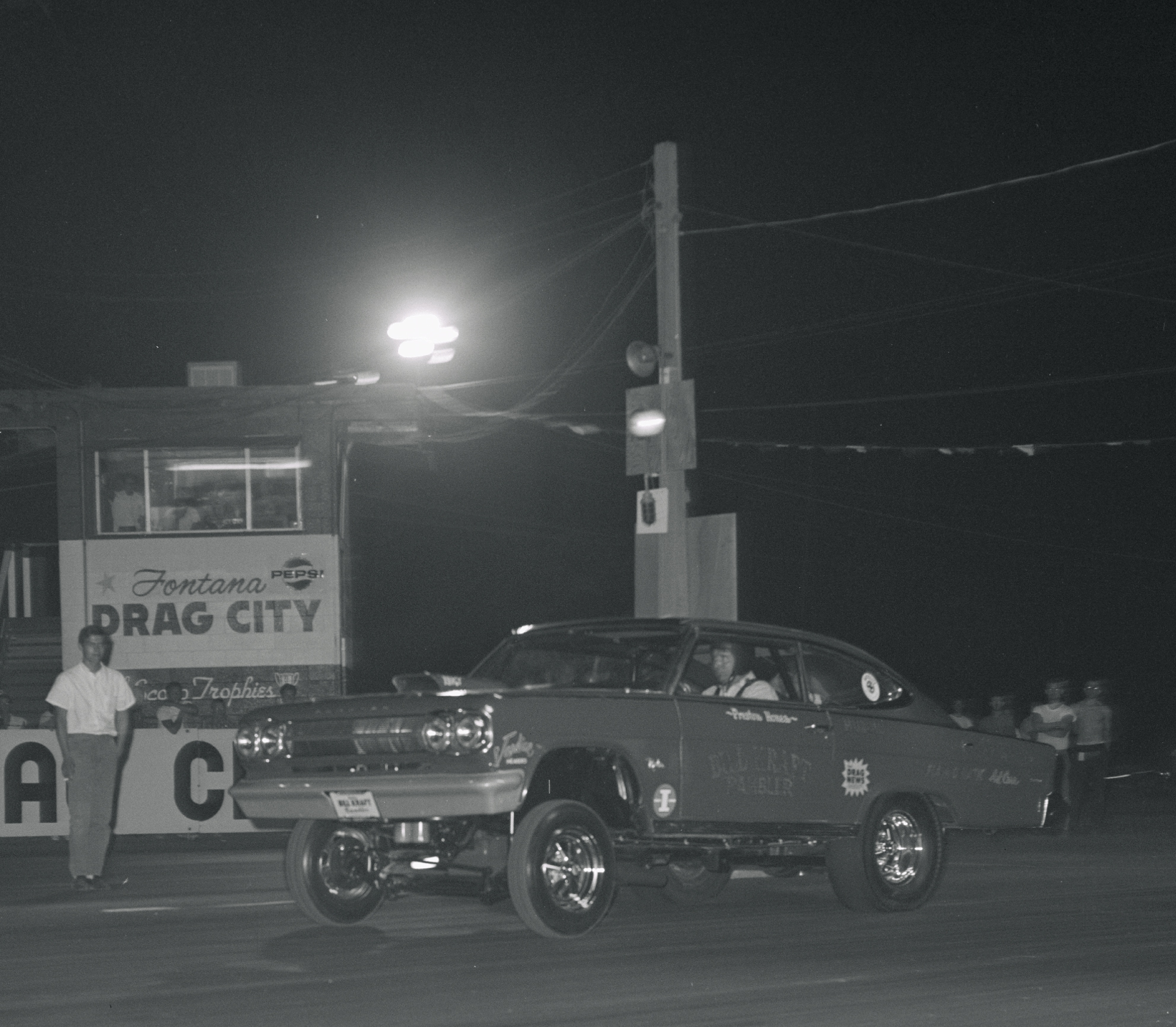 This is probably its second meet at Fontana Drag City the beginning of August '65. Love that night racing.