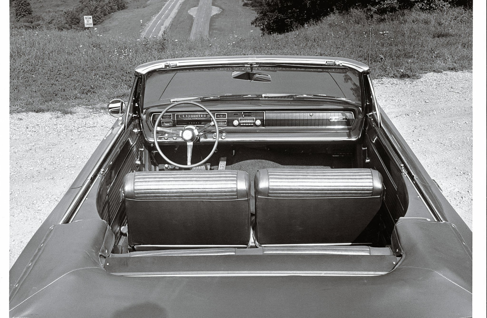 "Dahlquist appreciated the new interior layout of the '66 Coronet. ""Seating position had improved markedly. In the '65, wheel position had always felt a bit too high, but in the '66 it was fine."" He also liked the new dash layout, but said he'd prefer the TorqueFlite's shift lever on the floor."