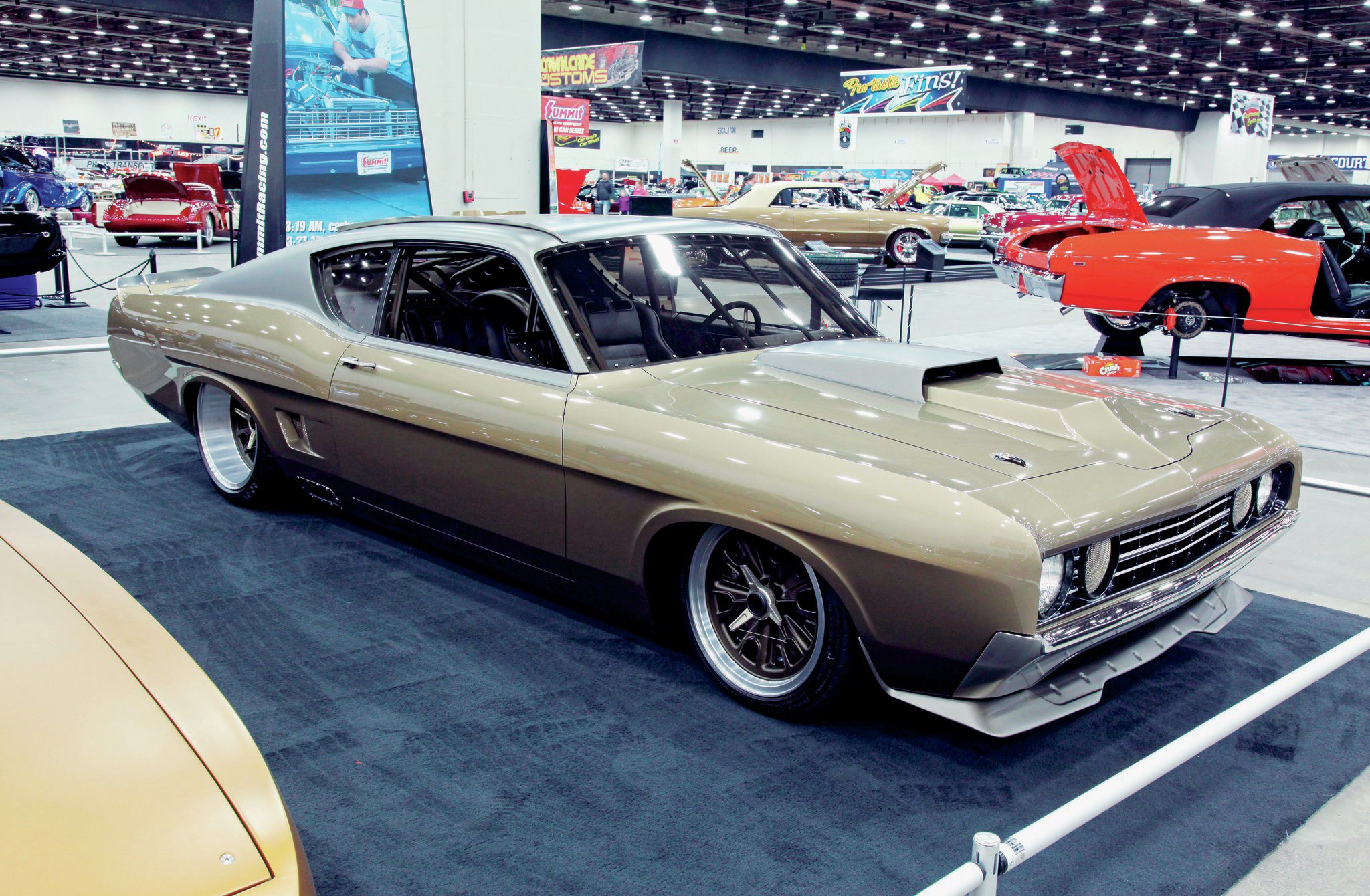The 1969 Ford Torino Talledega GT Special Troy built for George Poteet has got an injected Ford Boss 429 under the hood, capable of 750 hp. The car sits on a beefy Art Morrison chassis and runs 14-inch disc brakes on each corner.