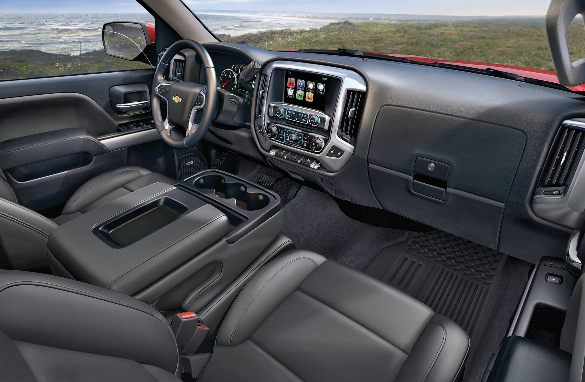 The driver's compartment is nothing short of luxurious. The leather seats are heated and air conditioned, the navigation and stereo are top notch, and the truck is full of amenities.