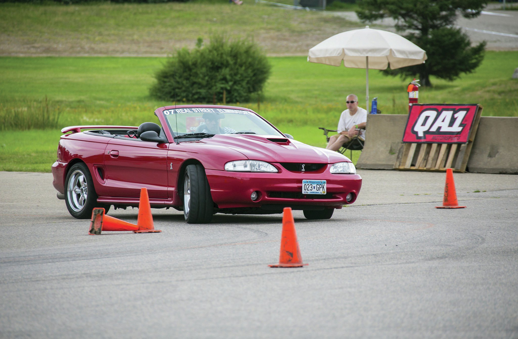 This is Brett Lindert's SN95 Mustang convertible. Over the course of several RSE events, he has steadily improved his autocross times. The 4.6L Mustang is underpowered, but this is not a disadvantage on the autocross. To prove that point, Brett won RSE's Late Model class autocross event in 2012 against a field of cars that nearly all sported more horsepower.