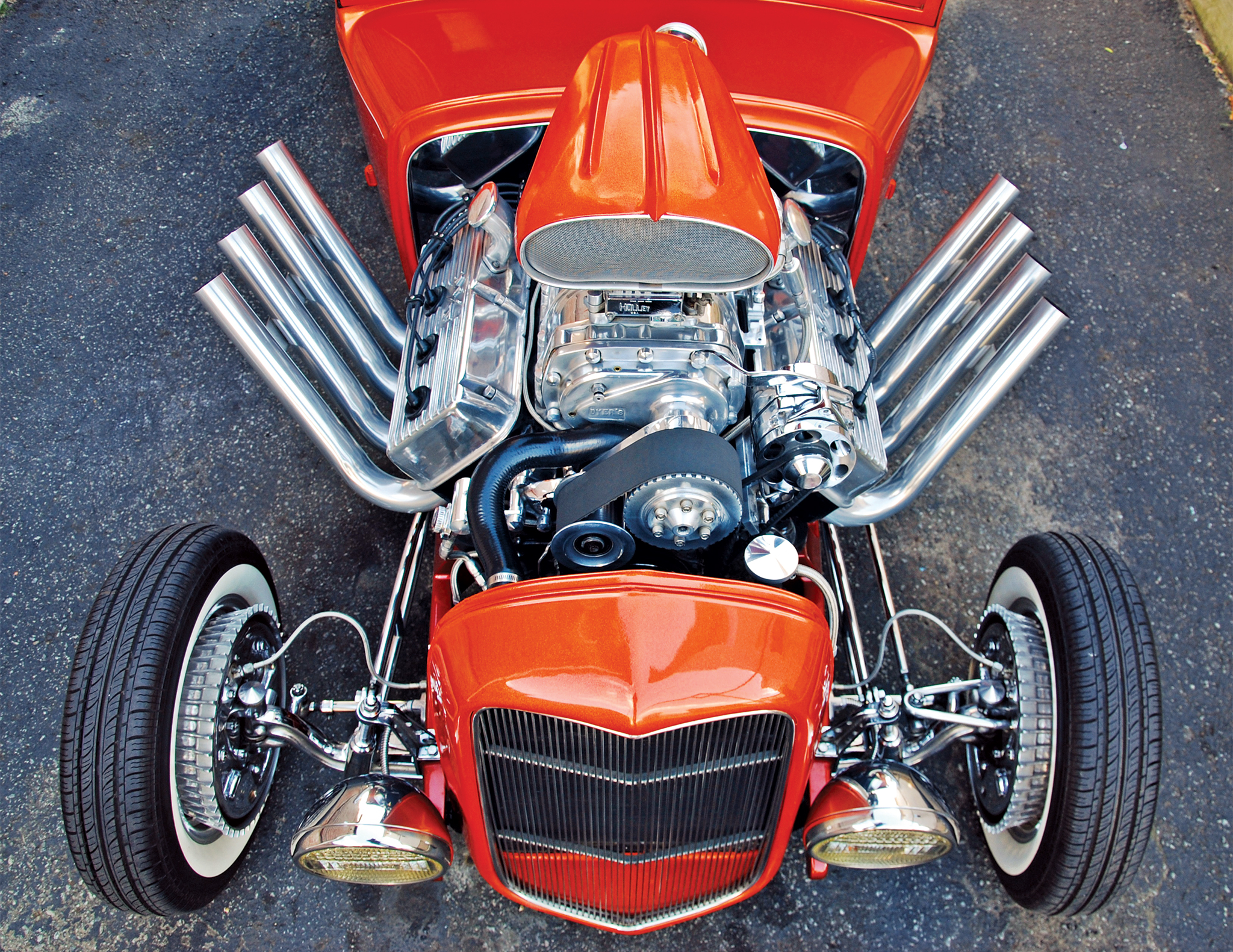 It was during the third owner's tenure that the flattie was swapped for the blown 392. When Vinny bought the car in 1999, it had contemporary headers and a nitrous kit. Vinny drove it that way for a while but decided to take a more traditional route when the car was turned away from a Road Agents show.