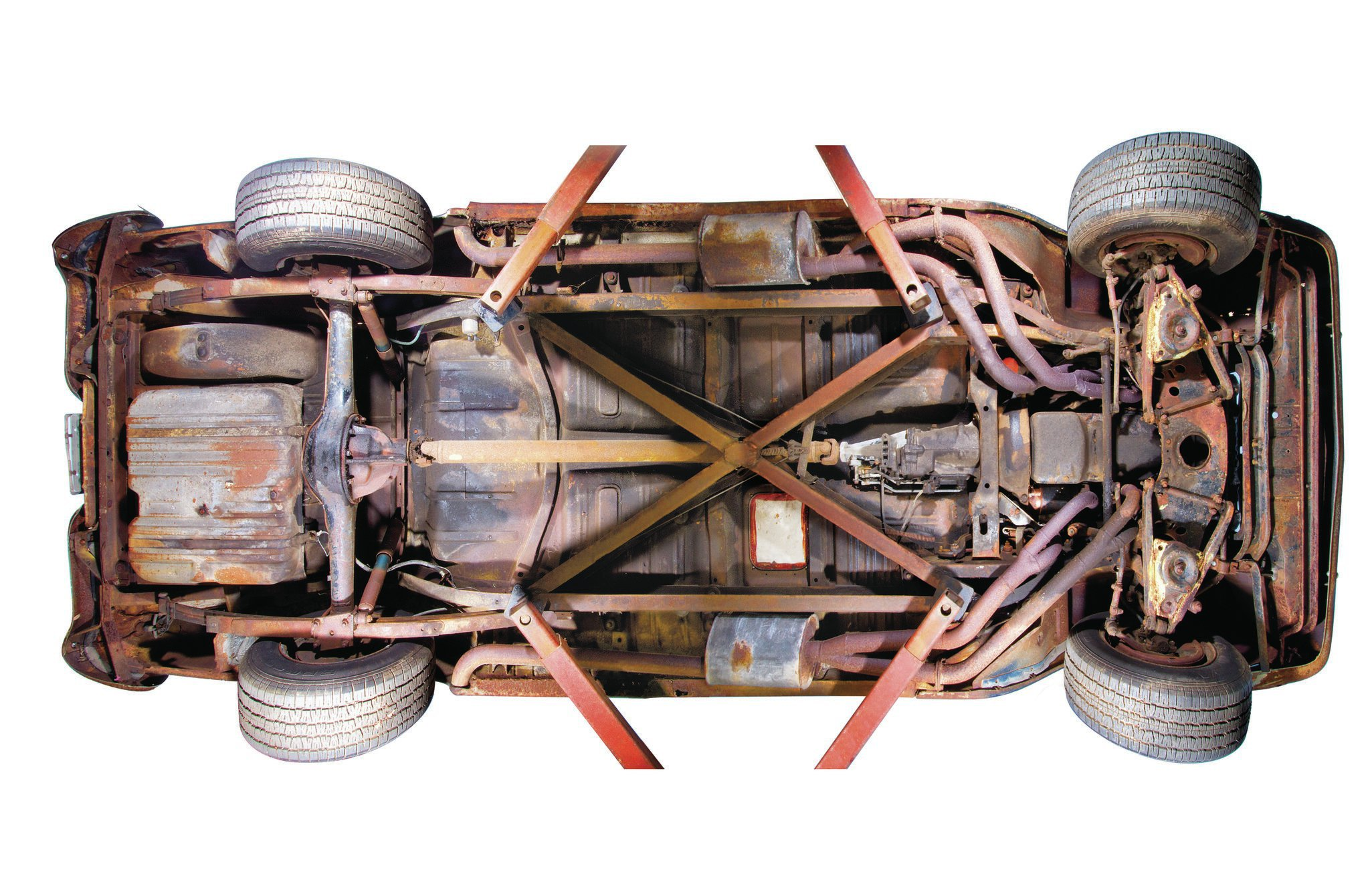 Though the car shows the rust of being stored near the coast, the car's tri-Y headers and side-mounted exhaust are still intact.