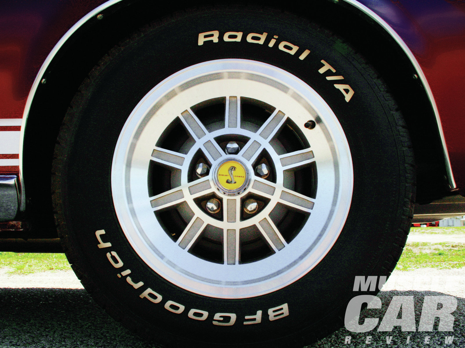 A mag-style wheel cover was standard equipment on '68 Shelby Mustangs, with this 10-spoke aluminum wheel available as an option.