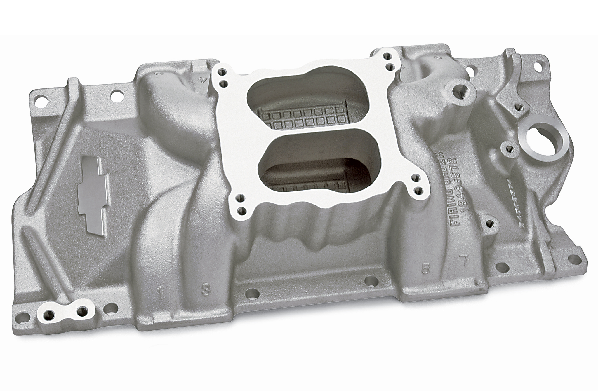 For those who actually do have a reverse-cool Gen II small-block and insist on running it old-school with a carburetor, Chevrolet Performance Parts has you covered with this dual-plane intake (GM PN 24502592). Note the absence of the traditional front water-passage crossover and thermostat housing.