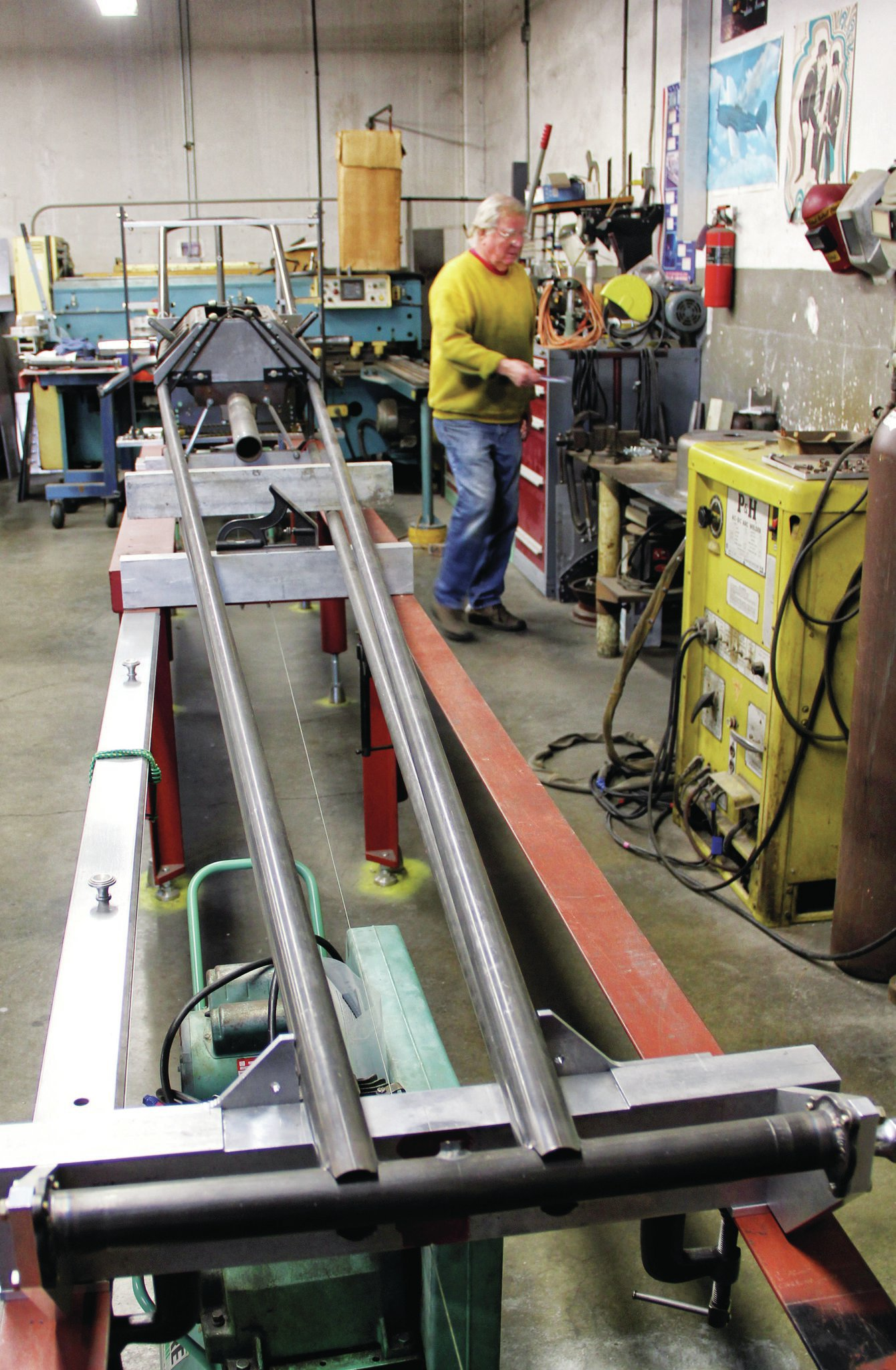 """The torsion bar housing is used to tie the new """"Burn Down"""" chassis tubing together at the front of the car. Don Long is still in the same shop he's built hundreds of cars in since the '60s."""