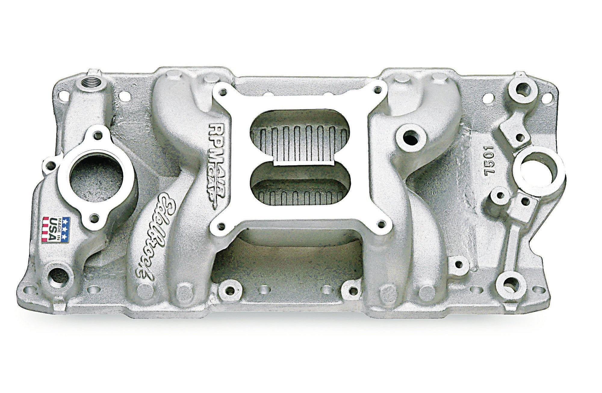 Edelbrock's RPM Air-Gap high-rise dual-plane (PN 7501) fits conventional small-block heads (including '86-and-earlier cast-iron castings) that collectively require 12, 3⁄8-inch attaching bolts (arrows), all of which install at the same angle relative to the heads' intake flange.