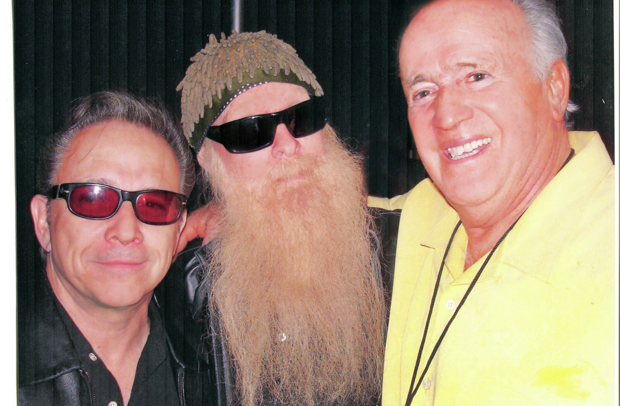 """Sue Brizio: """"When we went down to L.A. for the celebration of the 75th anniversary of the Deuce, we knew only that the Petersen Museum would provide entertainment. Had they advertised that Jimmie Vaughan left, Billy Gibbons center, Michael Anthony, and Jeff Beck would be playing together, they would've needed the L.A. Coliseum!"""""""