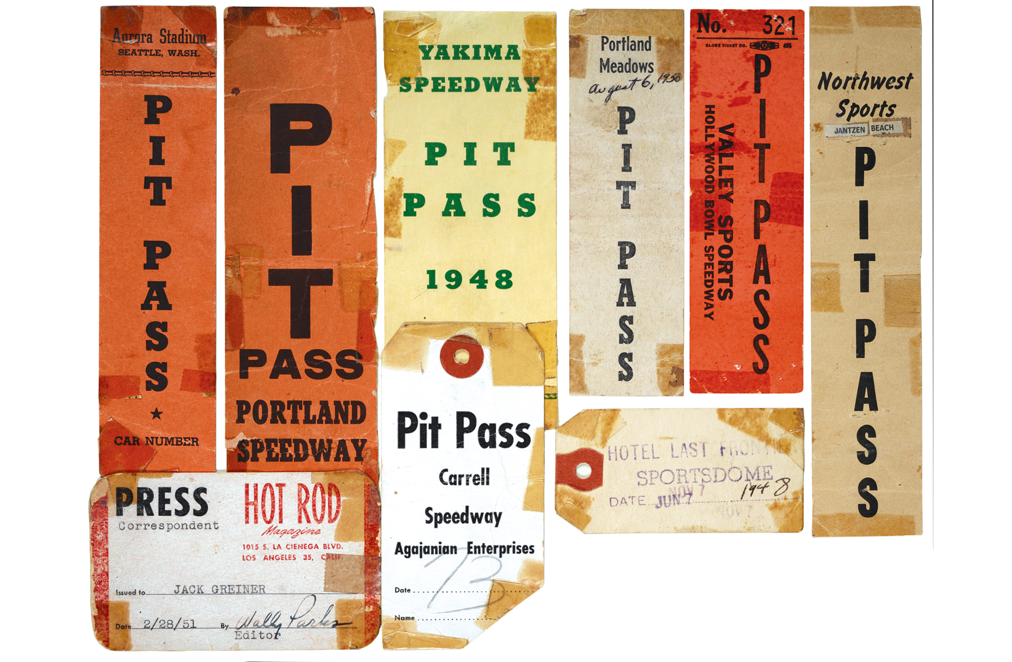 "Jack is one of those rare individuals who not only took a lot of pictures, but also saved his pit passes and other memorabilia. This is a small sampling, however, I chose this selection for two reasons. One being the Carrell Speedway pit pass from 1948, and the other is the ""jewel"" of the collection, Jack's Hot Rod magazine press pass from 1951. It was sent to Jack in advance of the Speed-Cycles car show held in Portland. Note the signature of the ""big man"" himself, Wally Parks, editor."