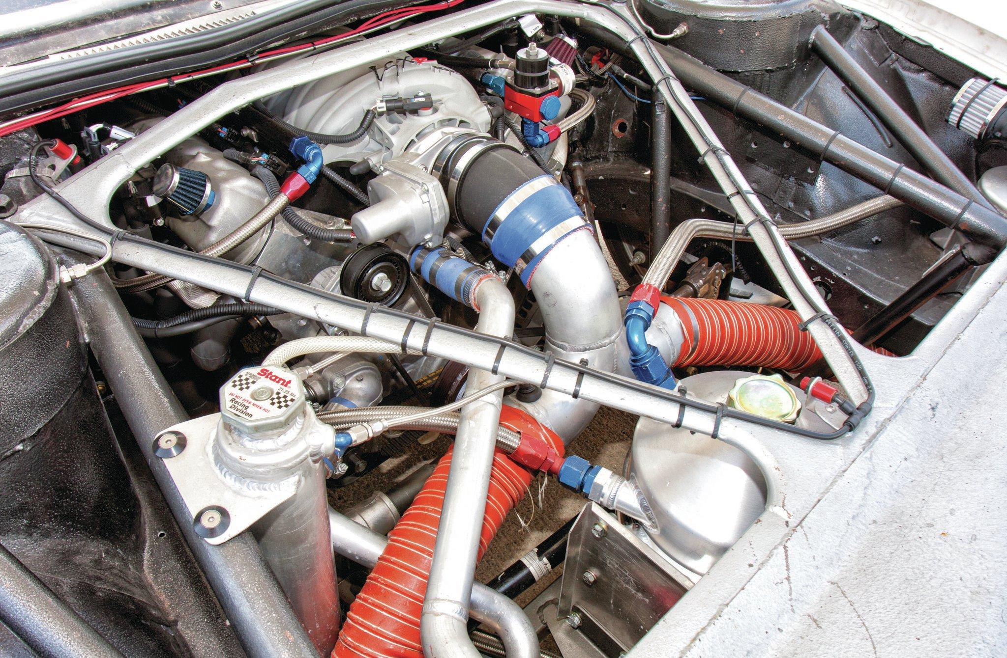 A Mast Motorsports 7.0L LS7 makes about 800 hp and is set back 25 percent to comply with SCTA's Gas Altered class and has about a 53/47 weight distribution. Behind the engine is a Tremec TR6060 trans and Corvette independent rear suspension.