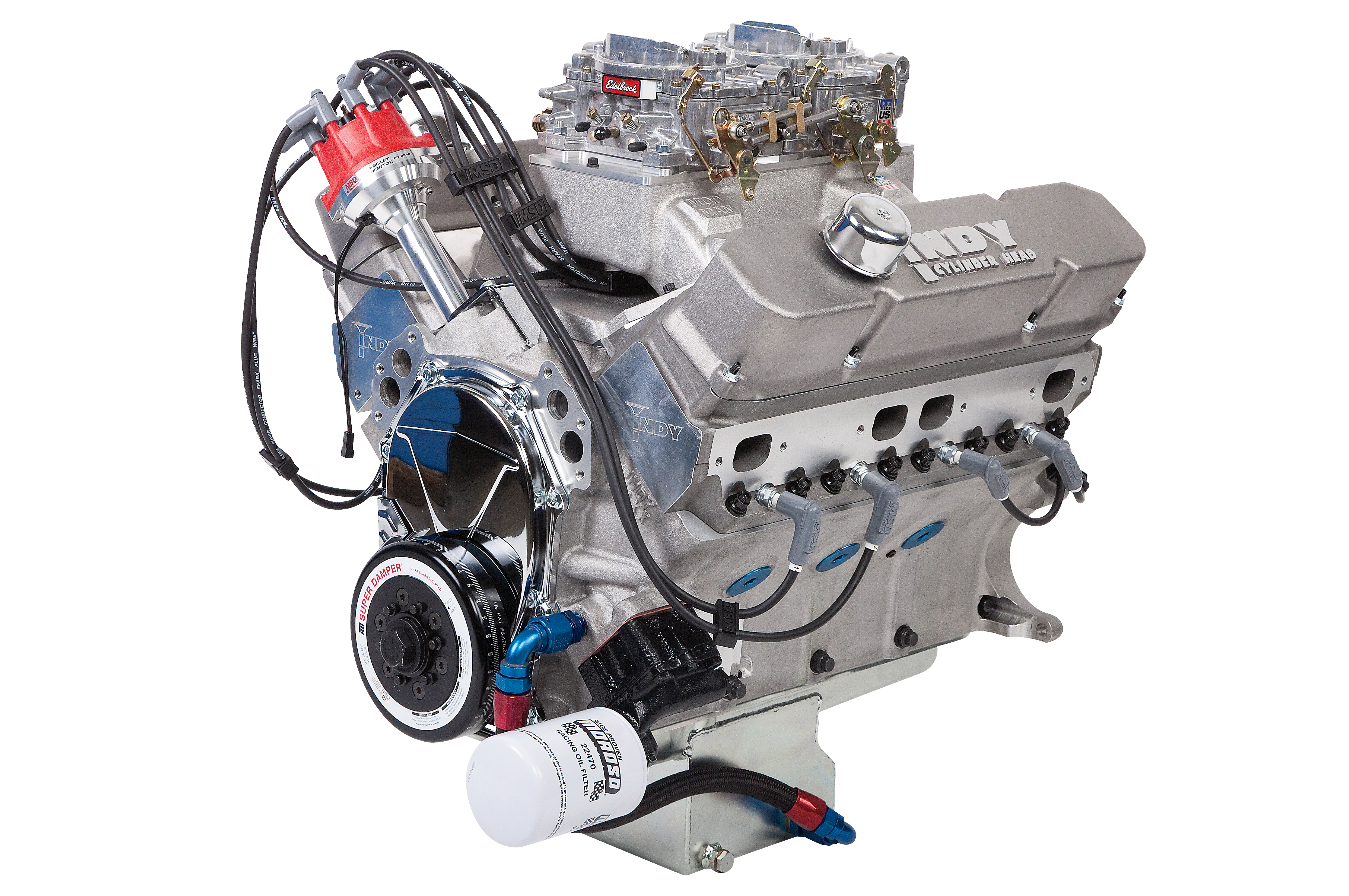 This all-aluminum 500ci low-deck wedge crate engine from Indy Cylinder Head is what will power our upcoming '68 Plymouth Valiant project. It makes 657 hp with Indy's EZ-1 cylinder heads, a Mod Man dual-quad intake, and a solid flat-tappet camshaft.