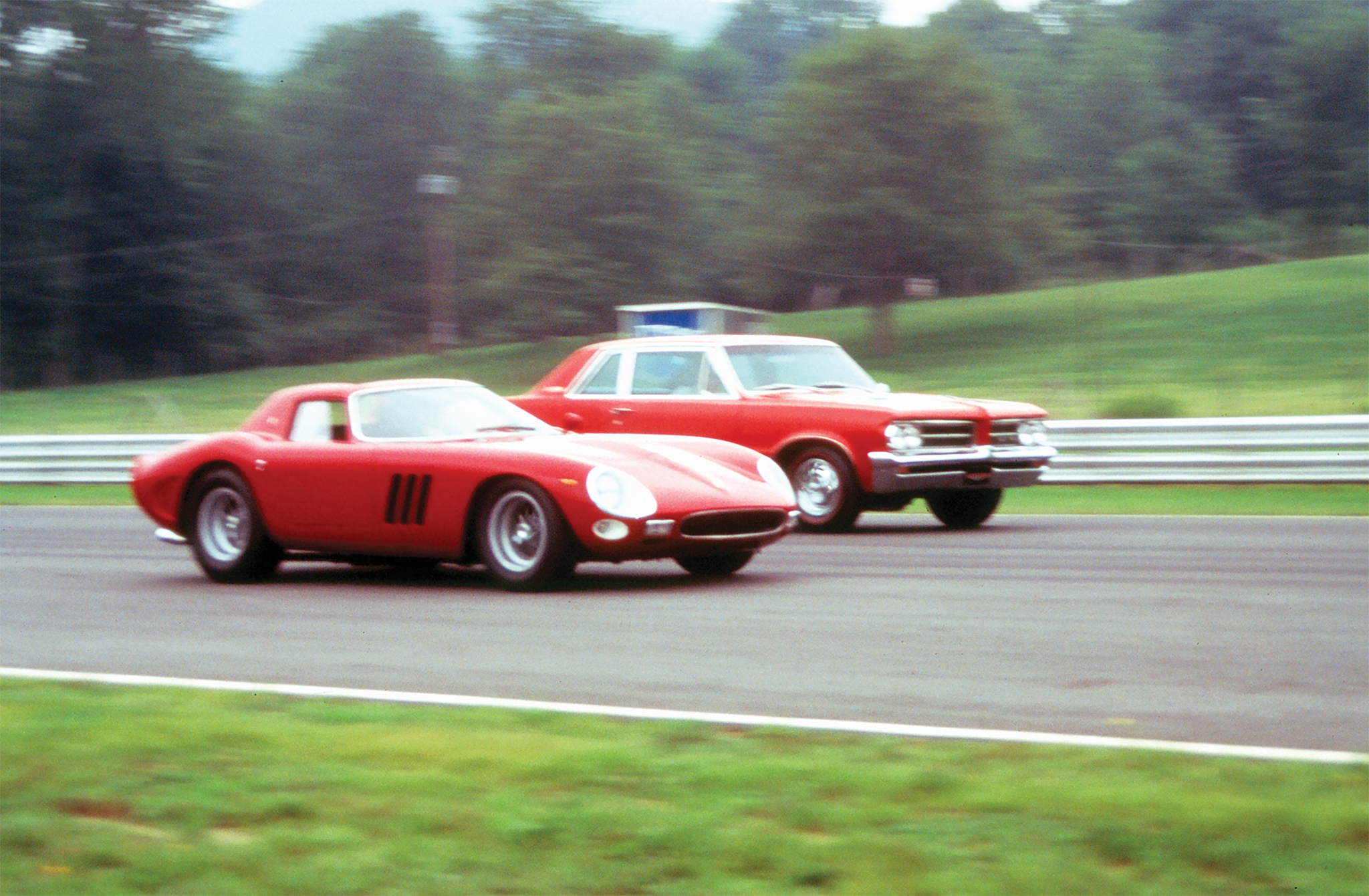 In 1995, George Ellis, Werner Pfister, and Don Keefe reunited the original Car and Driver 1964 Royal Bobcat GTO with a genuine 1964 Ferrari GTO at Lime Rock. The results were predictable—the Pontiac was a rocket on the straightaways, while the Ferrari went around the corners like it was on rails.