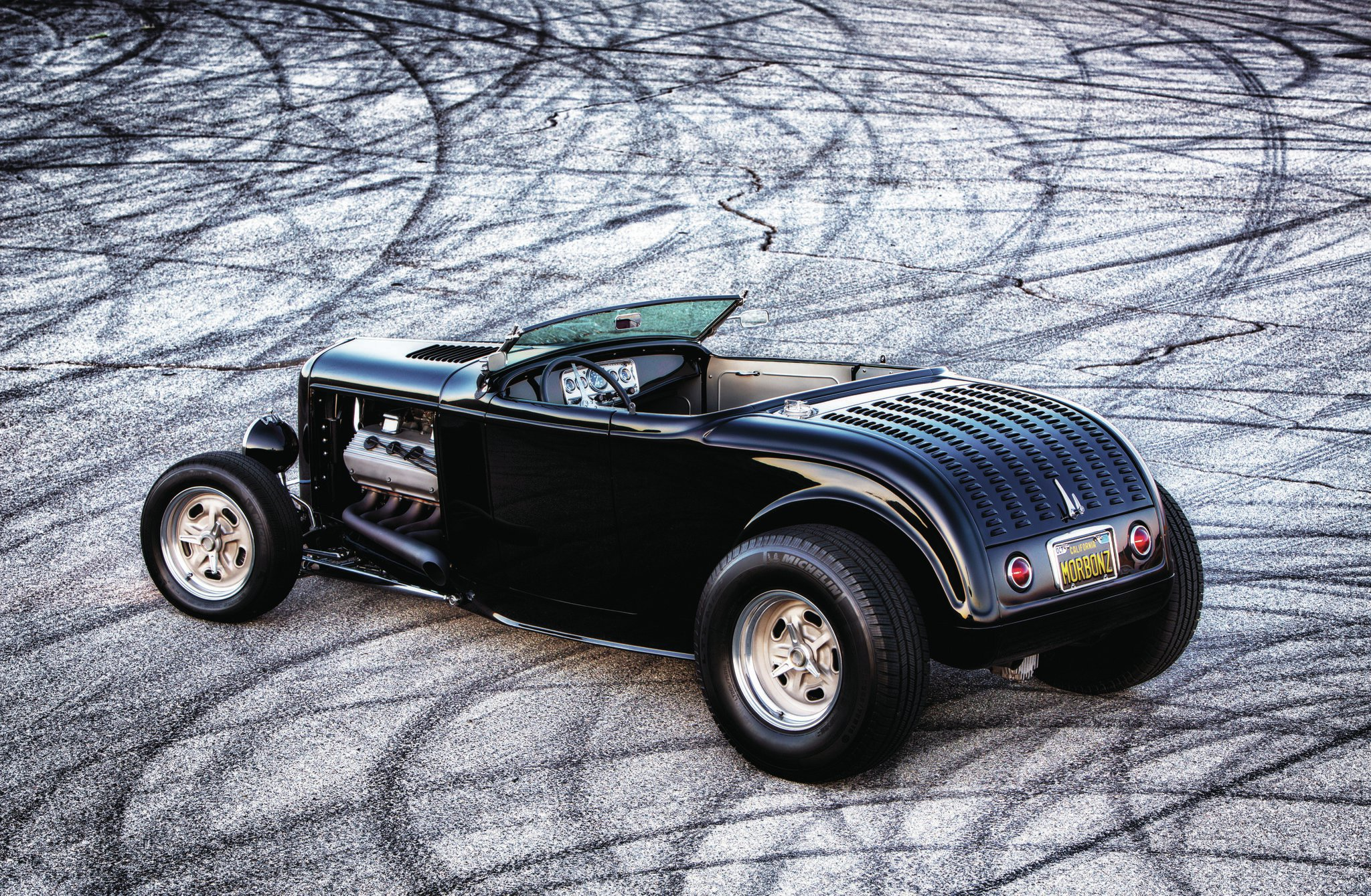 Nothing beats the look of a Deuce highboy roadster, and with a 392ci Hemi under the hood, you've got the best of both classic hot rod styling and classic American horsepower. The car's wheelbase has been stretched 3 inches to help accommodate the big lump of Hemi.