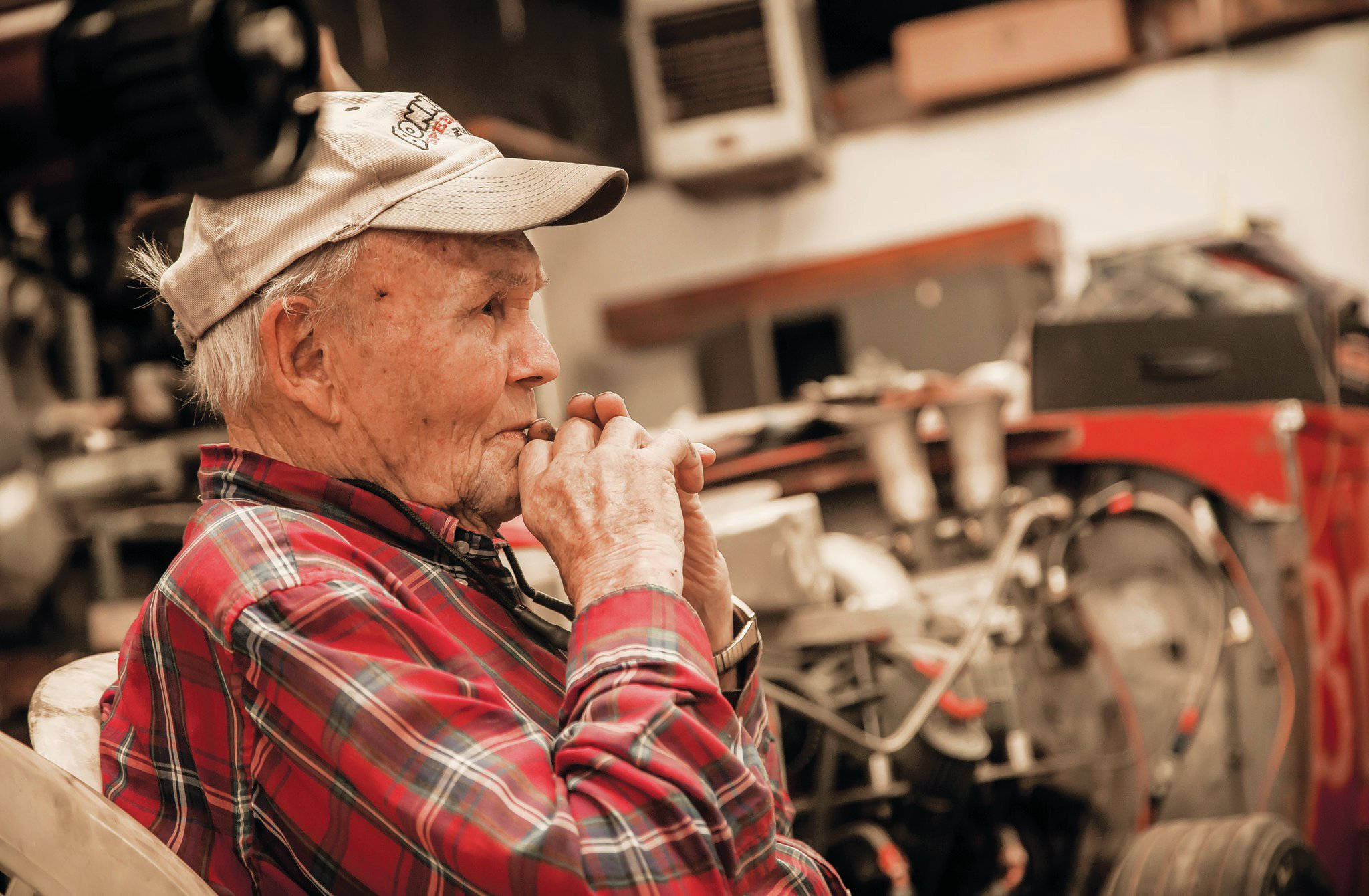 Harold Johansen, 87 years young, at home in his shop.