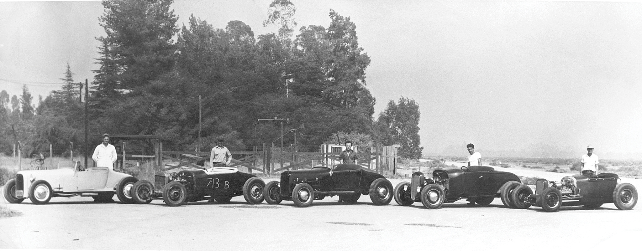 Harold was among the original members of the Outriders car club, several of whom appear in this photo from 1952 or '53. (Harold and his A are second from right.) We'd love to hear from anyone who can identify other club members in the photo.