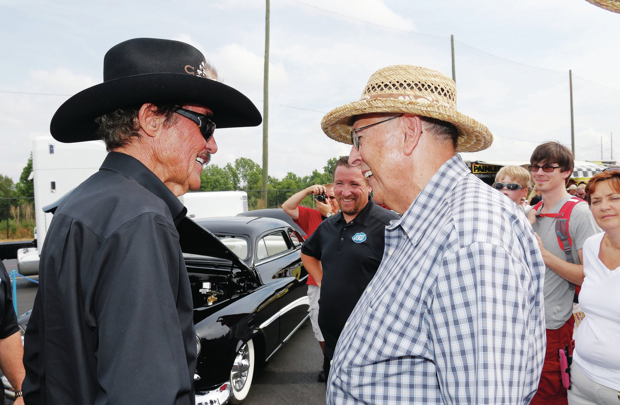 The King, Richard Petty, informs lucky recipient Jack Studdard that fairy tales can come true, and that the gleaming black chopped Merc is his.