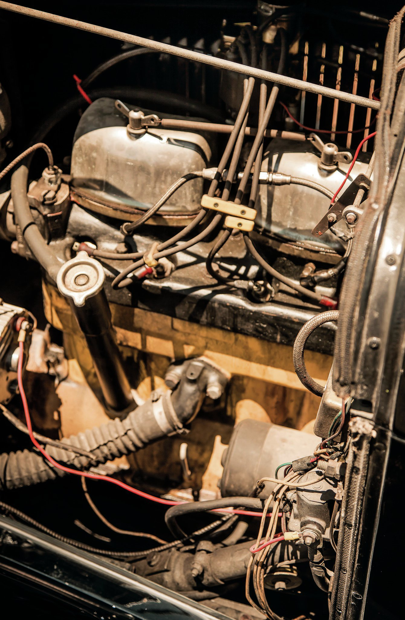 """The Riley two-port in his high school car sounds purposeful when fired up. """"I always liked the sound of these,"""" Harold says of the banger motors. """"That's mostly why I ran them."""""""