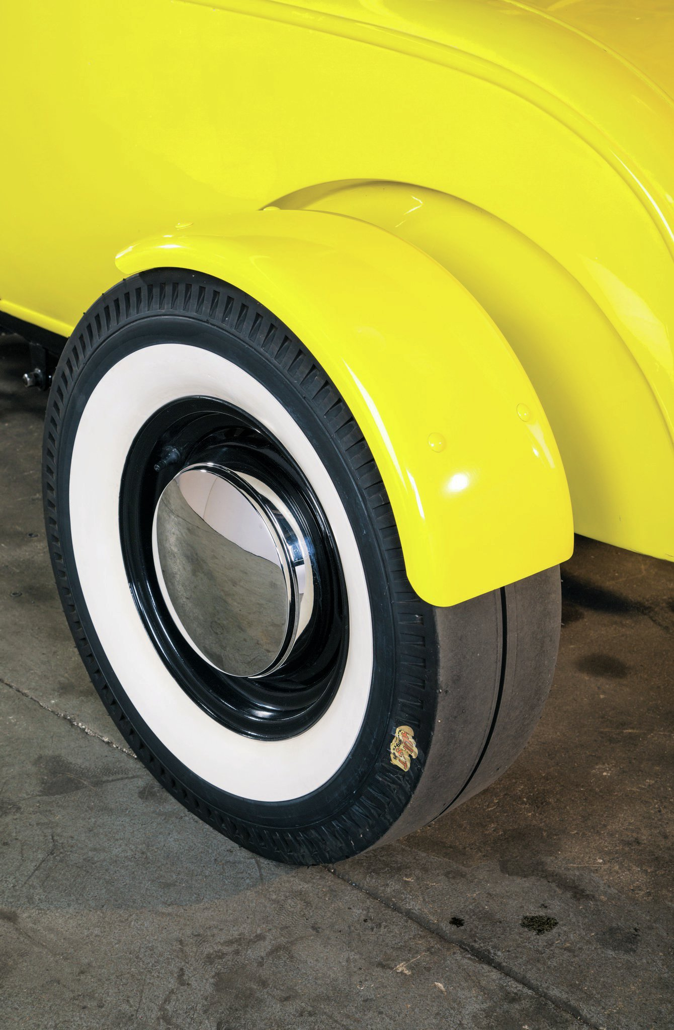 Hurst whitewall slicks look great on the car and mirror what Ken ran in the '60s. The original fenders didn't come with the car, but Verne found that fenders made for choppers worked just fine.