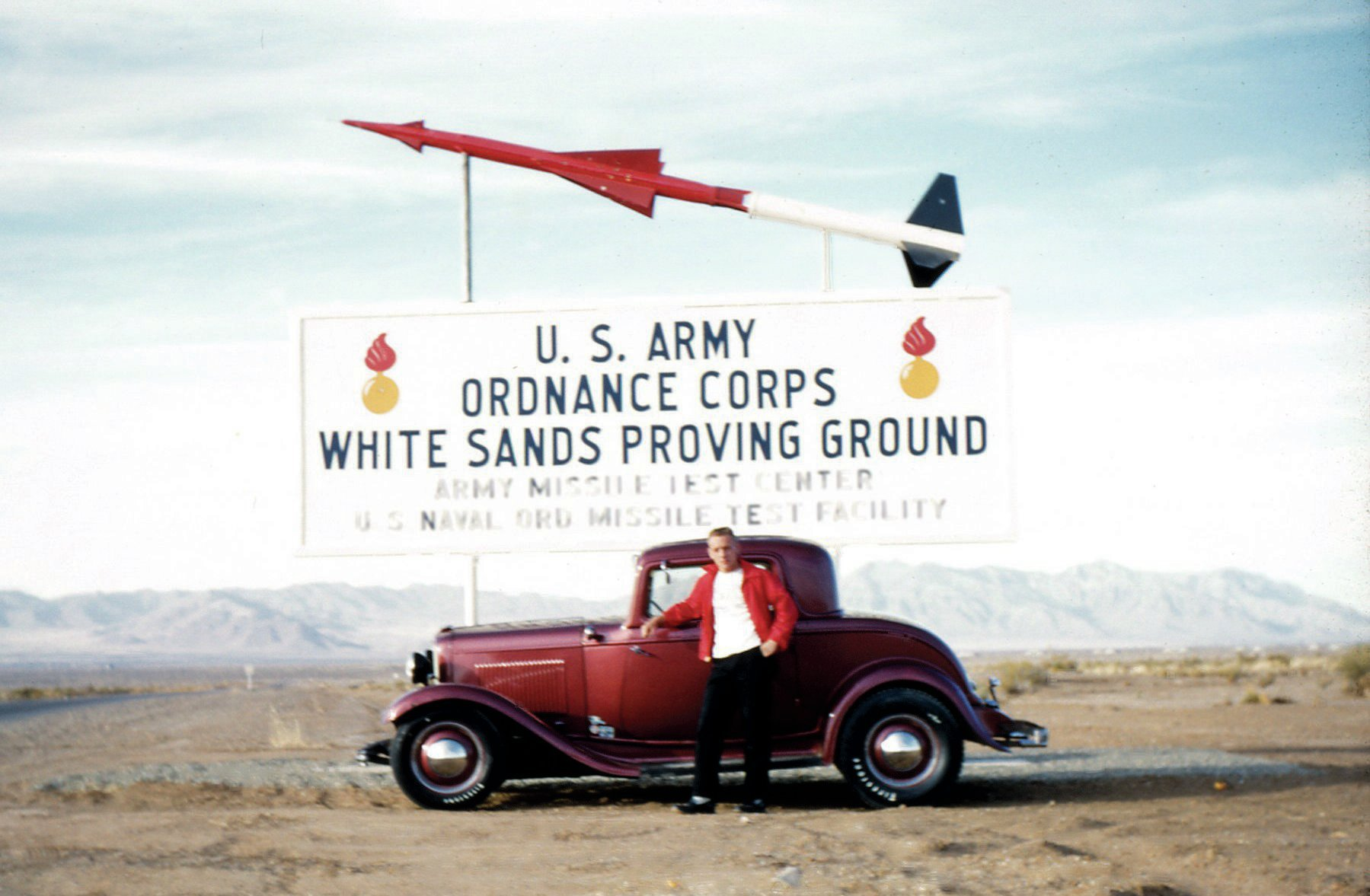 Nick's father, Bud, poses with his three-window coupe at the White Sands Proving Grounds in New Mexico, where he worked as a propulsion engineer when the photo was taken in 1957 or '58. Photos like these in the family scrapbooks helped shape Nick's sense of what he wanted in his own hot rod.